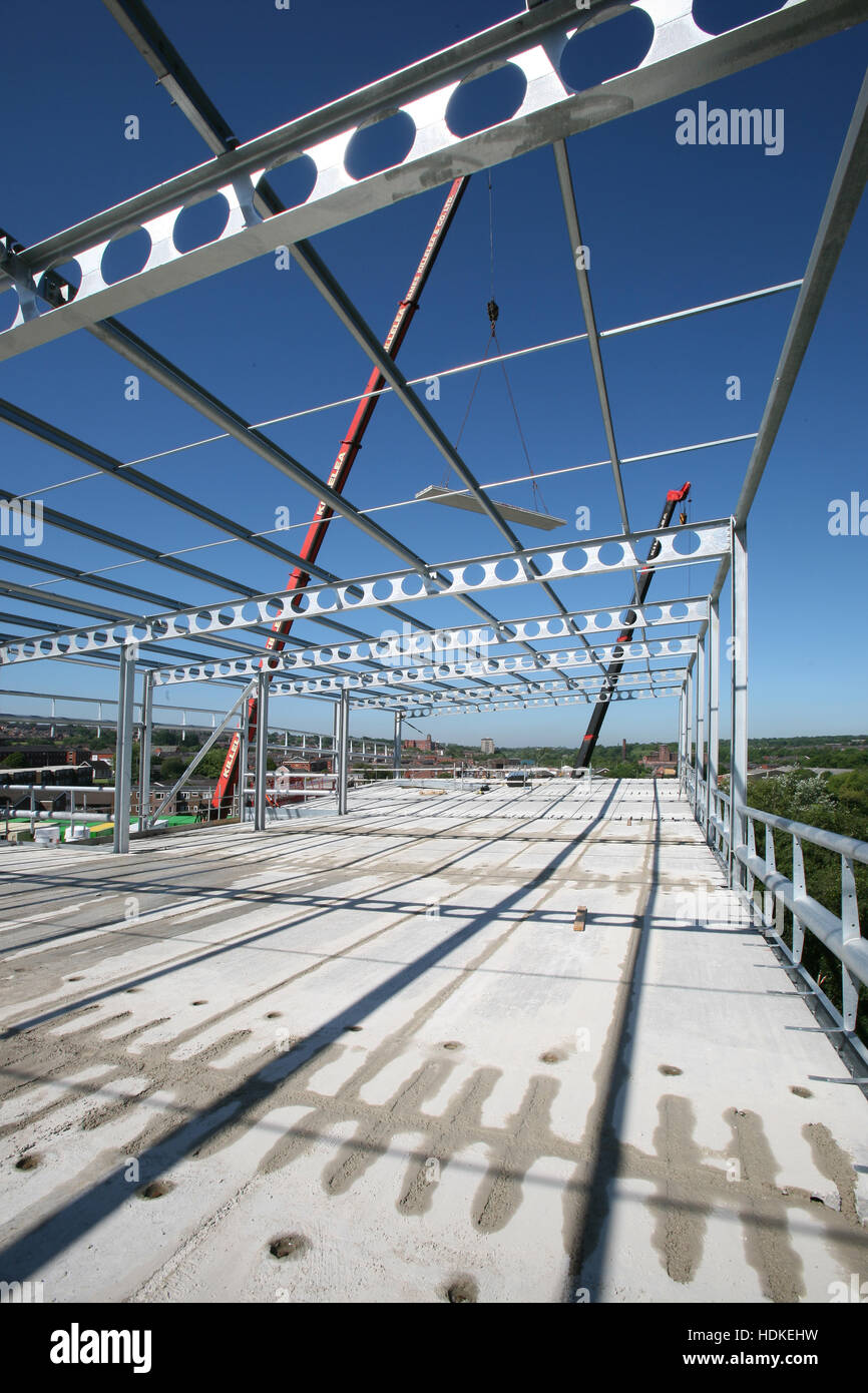 Construction site with PCC plank floor deck, structural steel frame ...