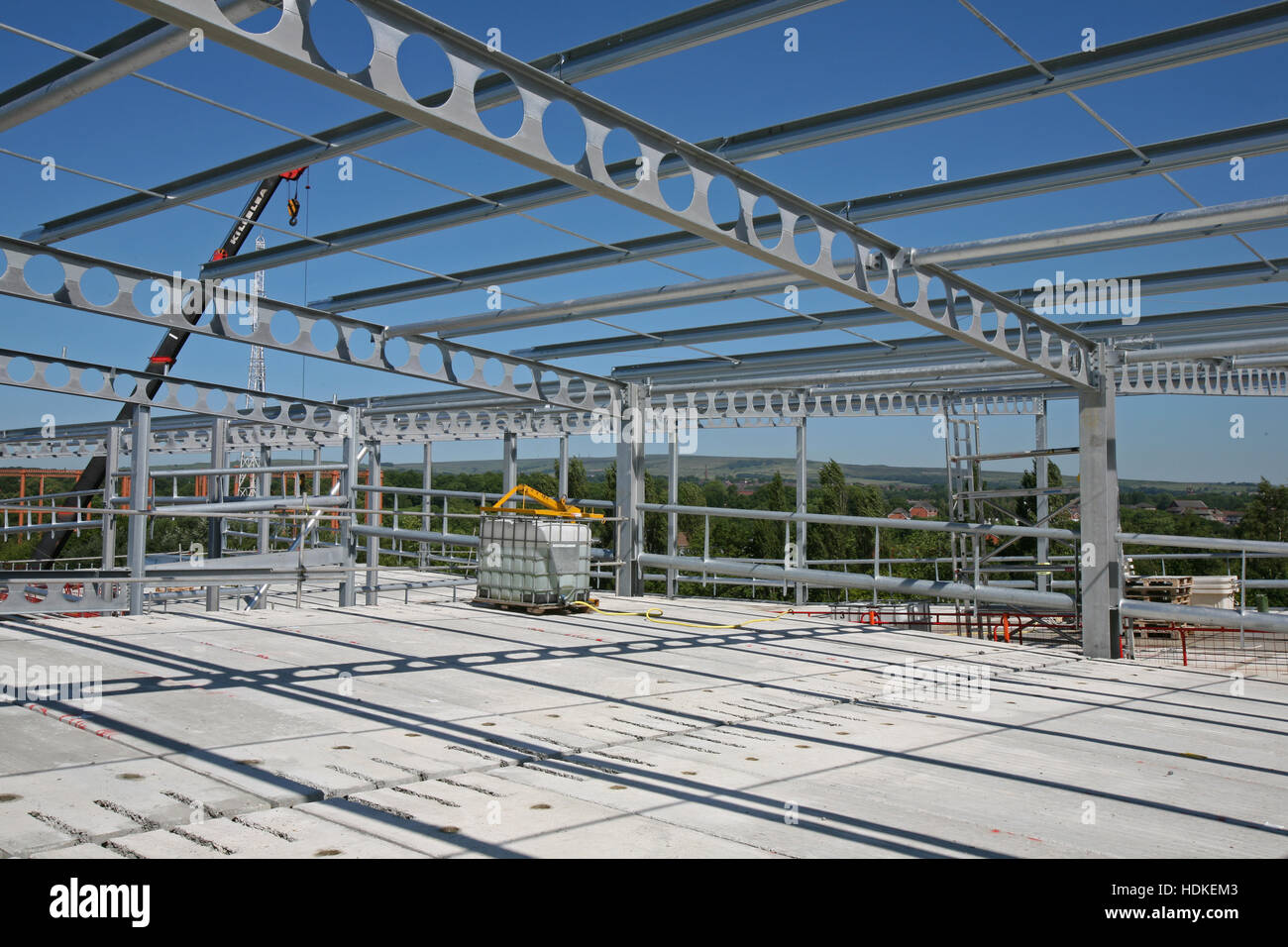 Construction site with PCC plank floor deck,structural steel frame ...