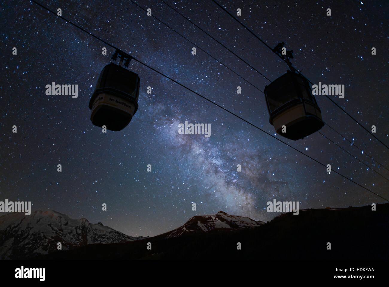 Ski resort of Saint Gervais Mont Blanc by night - Stock Image
