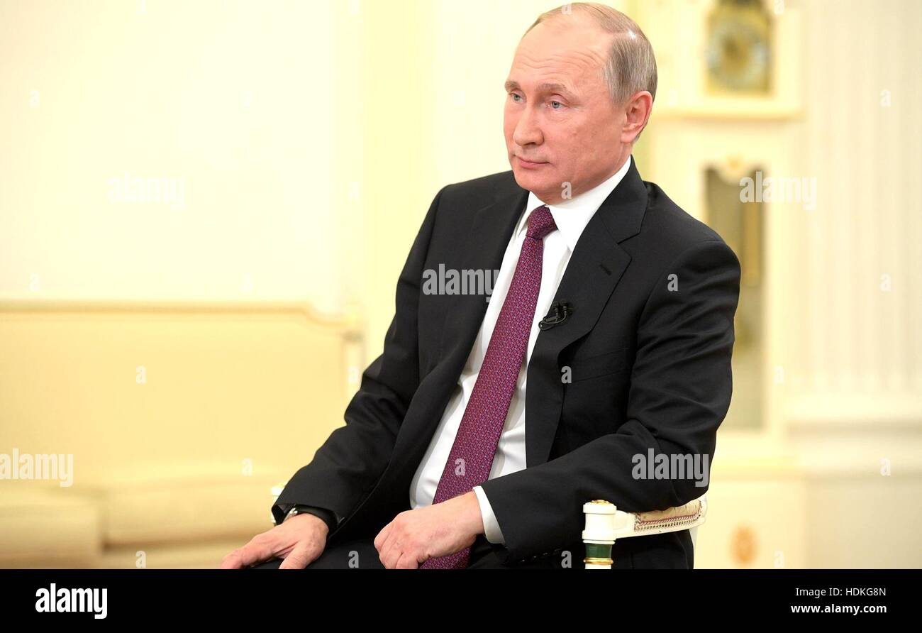 Russian President Vladimir Putin during an interview with Nippon Television and the Yomiuri Shimbun at the Kremlin - Stock Image