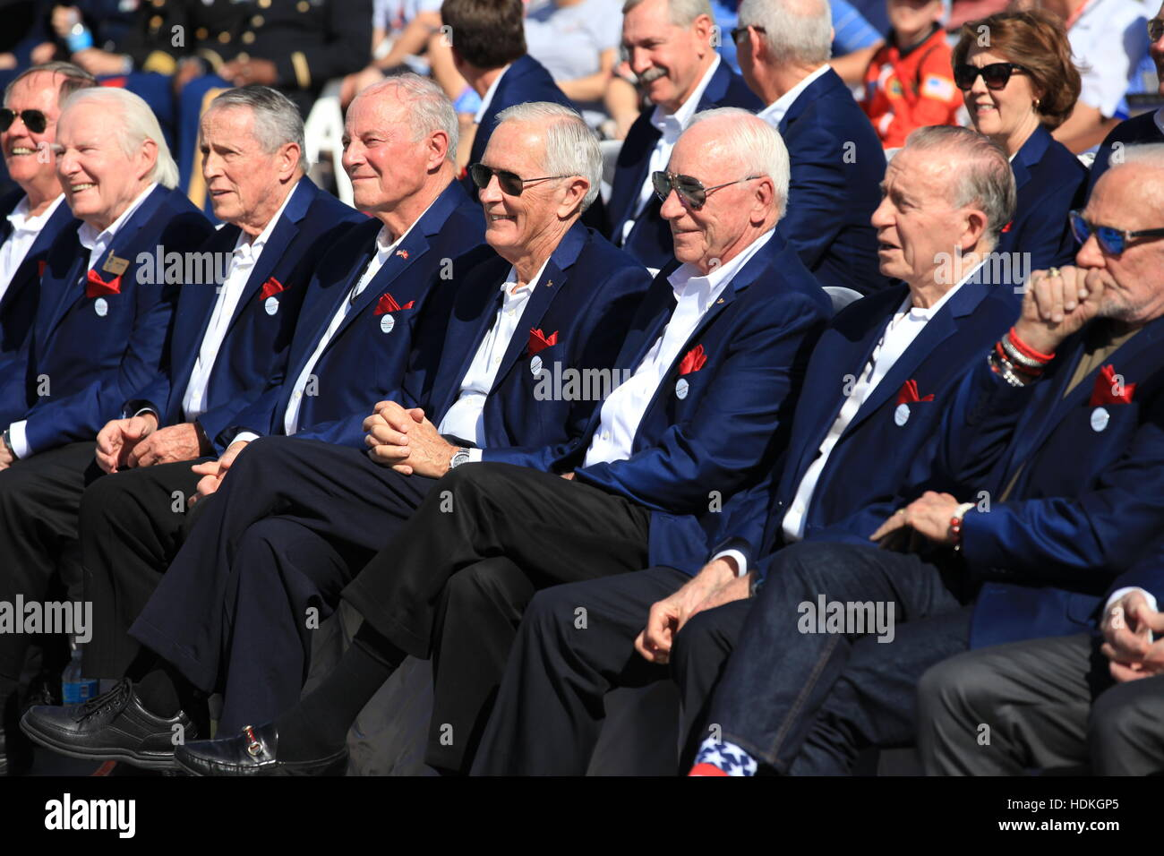 Members of the U.S. Astronaut Hall of Fame listen to speakers during the opening ceremony for the Heroes and Legends - Stock Image