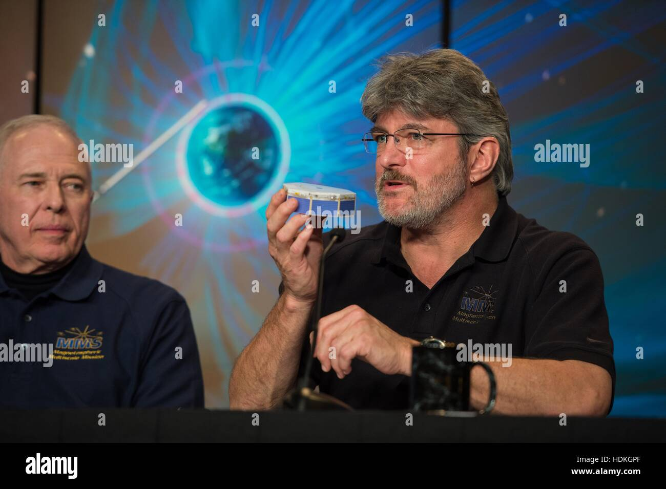 NASA Magnetospheric Multiscale (MMS) mission project manager Craig Tooley speaks during a briefing on the upcoming - Stock Image