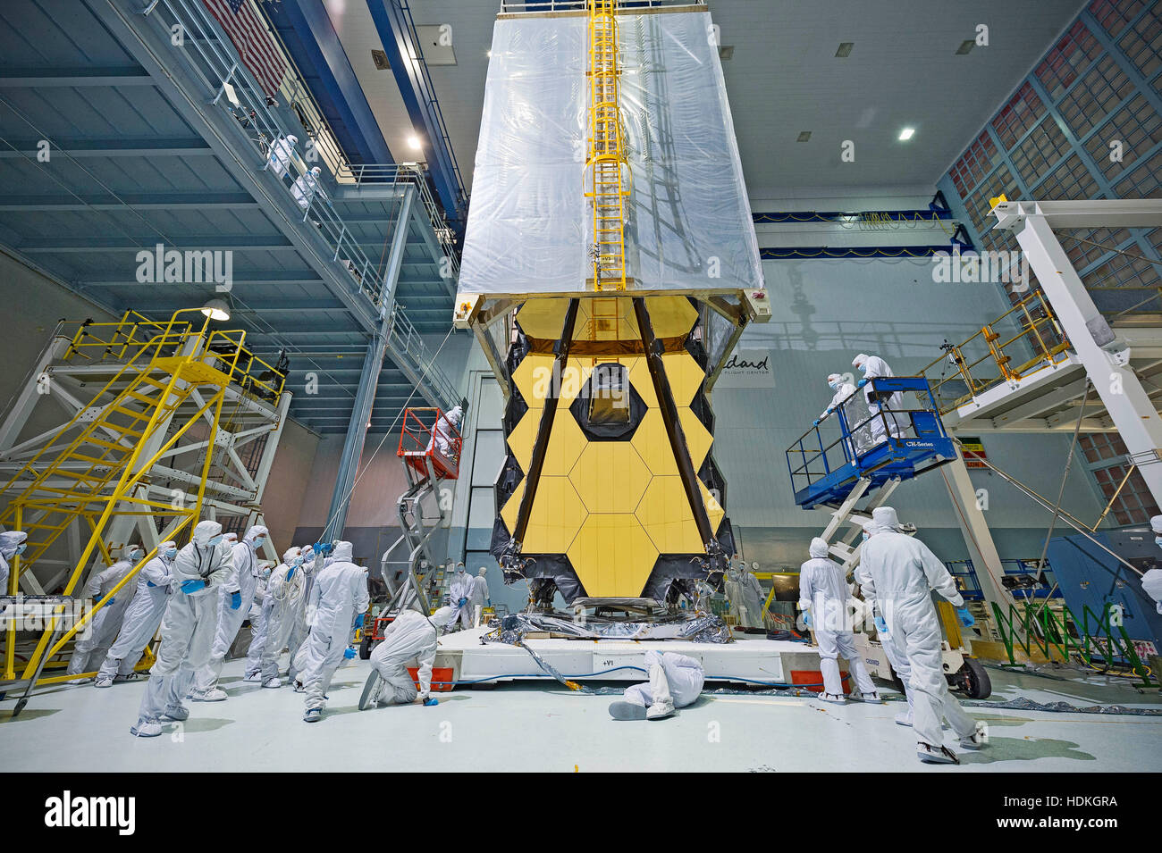 A clean tent is draped over the NASA James Webb Space Telescope to protect it from dust and dirt at the Goddard - Stock Image