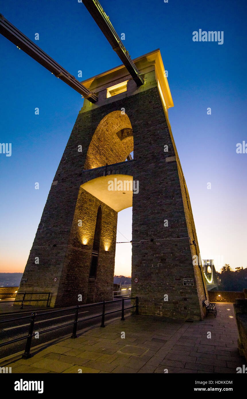 East support tower of the Clifton Suspension Bridge over the river Avon in Bristol at dusk Stock Photo