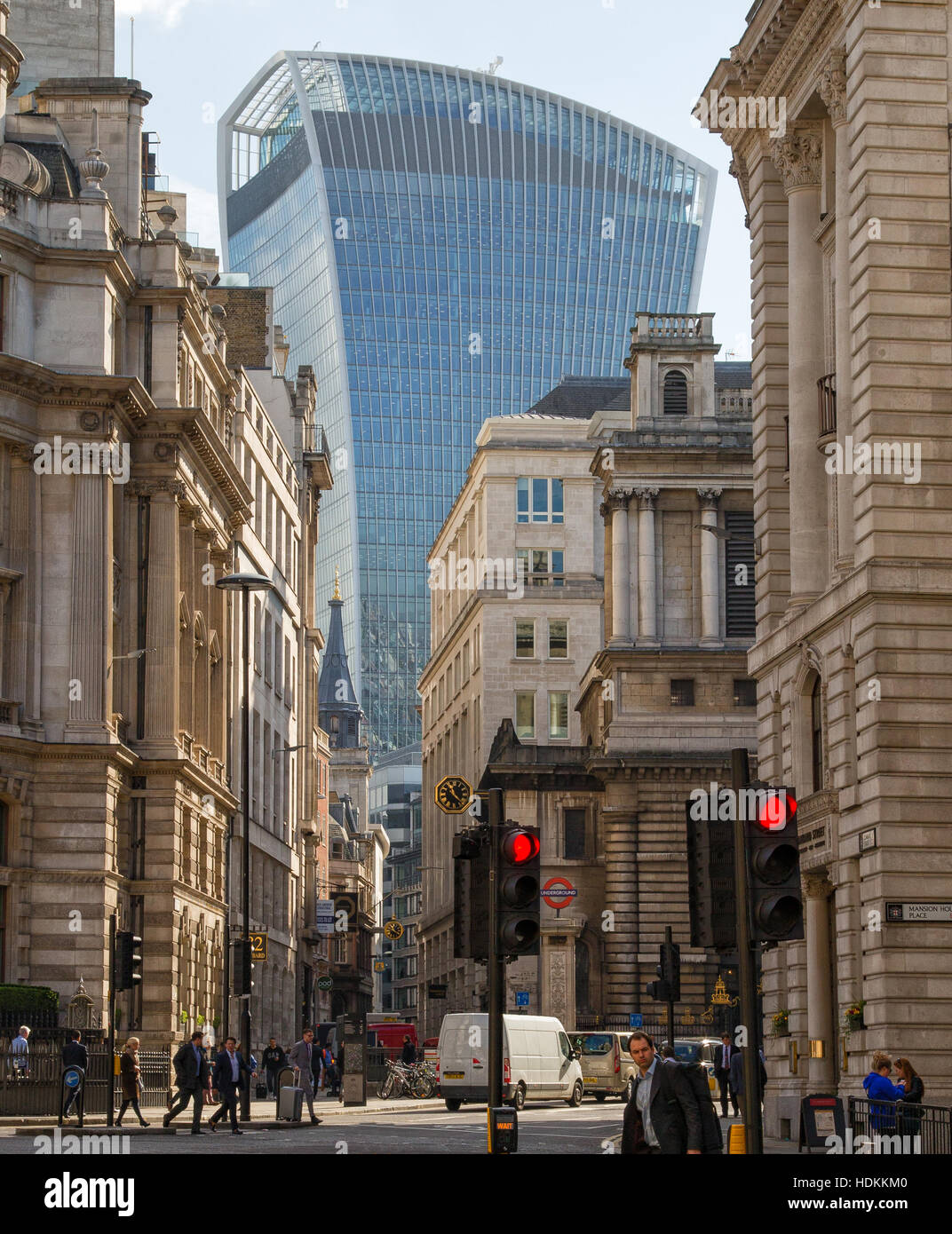 Contrasting architectural styles in the City of London with Walkie Talkie building at 20 Fenchurch Street dominating - Stock Image