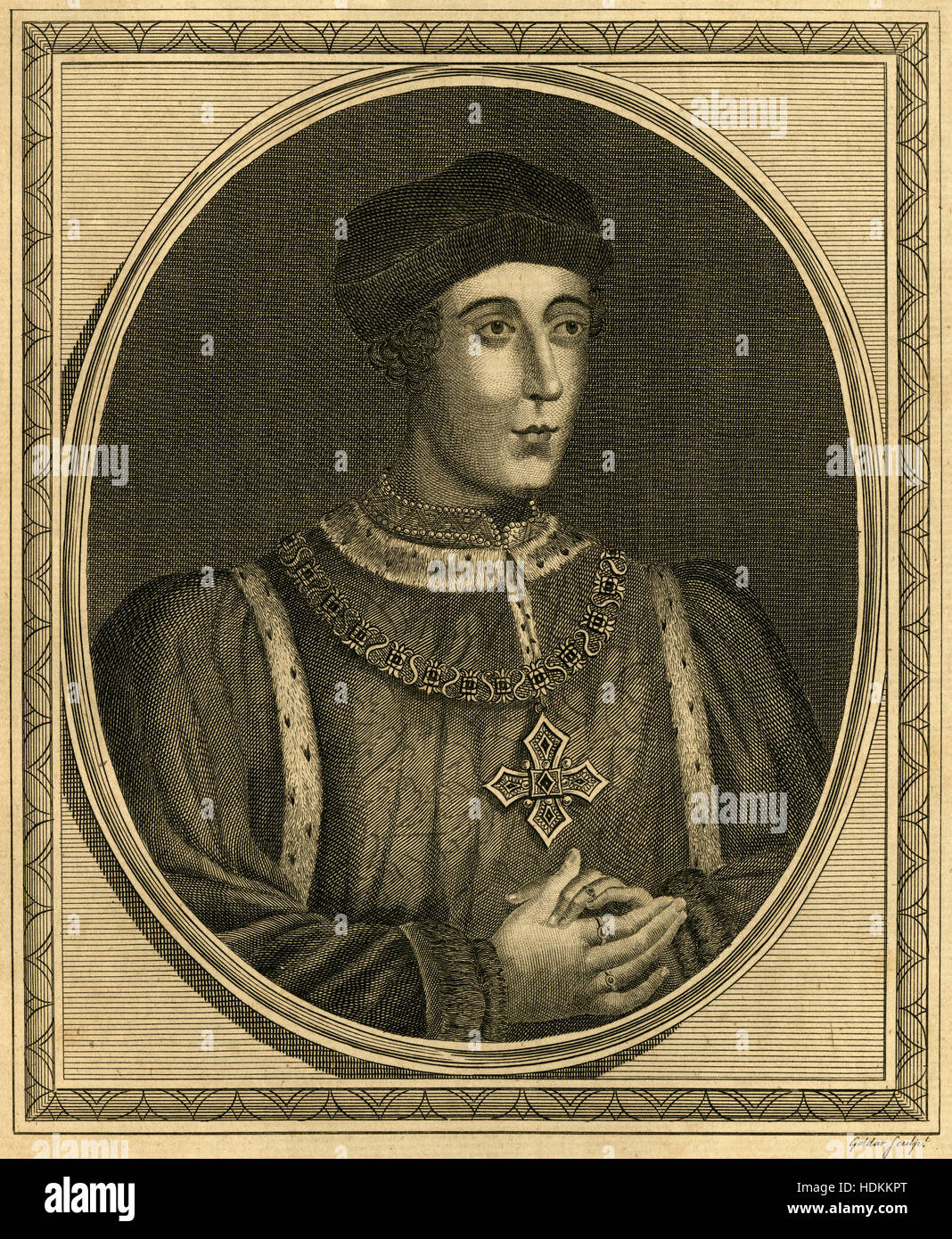 Antique 1787 engraving, King Henry VI. Henry VI (1421-1471) was King of England from 1422 to 1461 and again from - Stock Image
