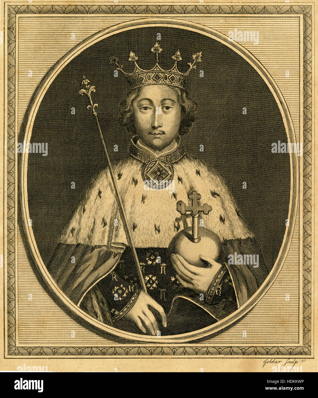 Antique 1785 engraving, King Richard II. Richard II (1367-1400), also known as Richard of Bordeaux, was King of - Stock Image