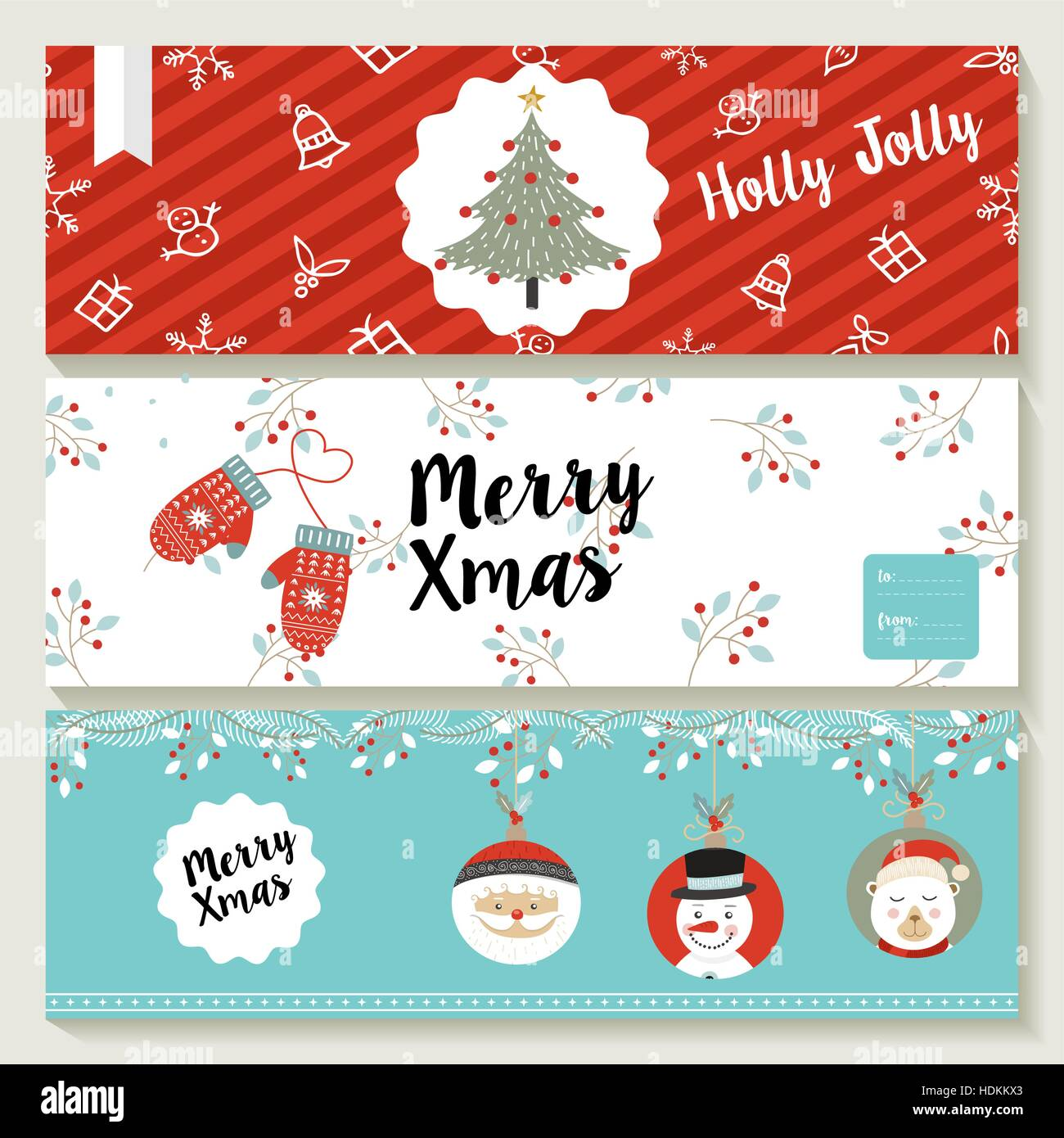 Merry Christmas set of social media covers, header templates with ...