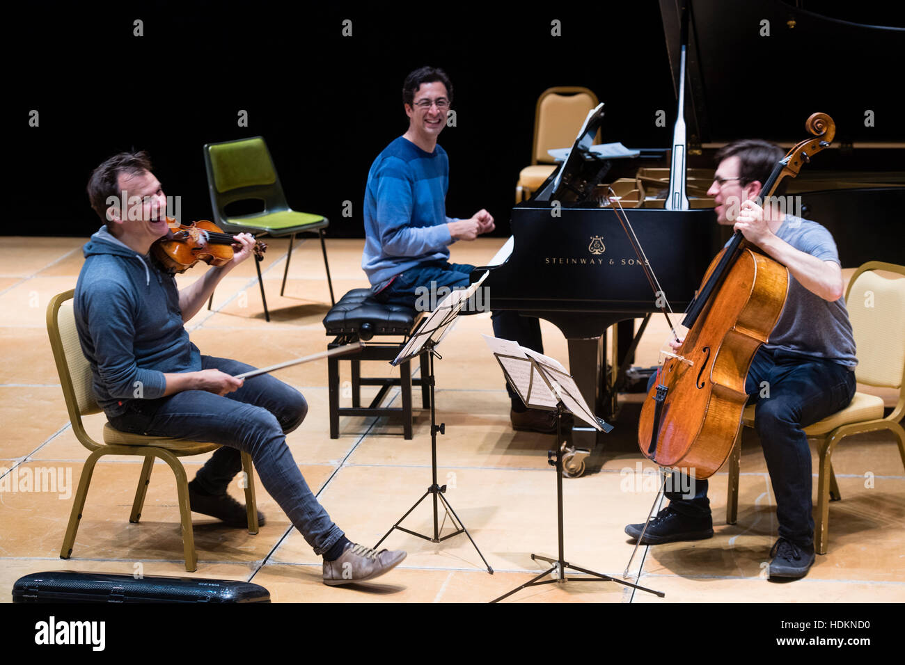 Tom Poster (piano), Guy Johnston (cello) and Magnus Johnston (violin) rehearsing for their evening concert at MusicFest - Stock Image