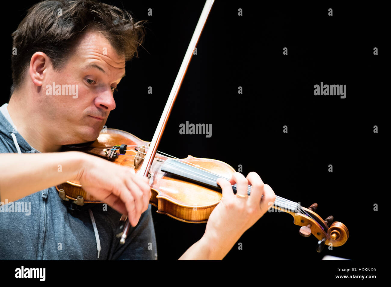 Magnus Johnston (violin) rehearsing for an evening concert at MusicFest Aberystwyth , Wales UKL - July 2016 - Stock Image