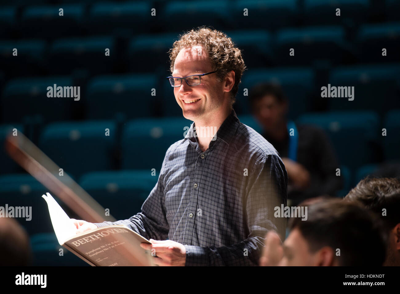 Toby Purser, conductor, and artistic director of the Orion Orchestra, at MusicFest Aberystwyth - Stock Image