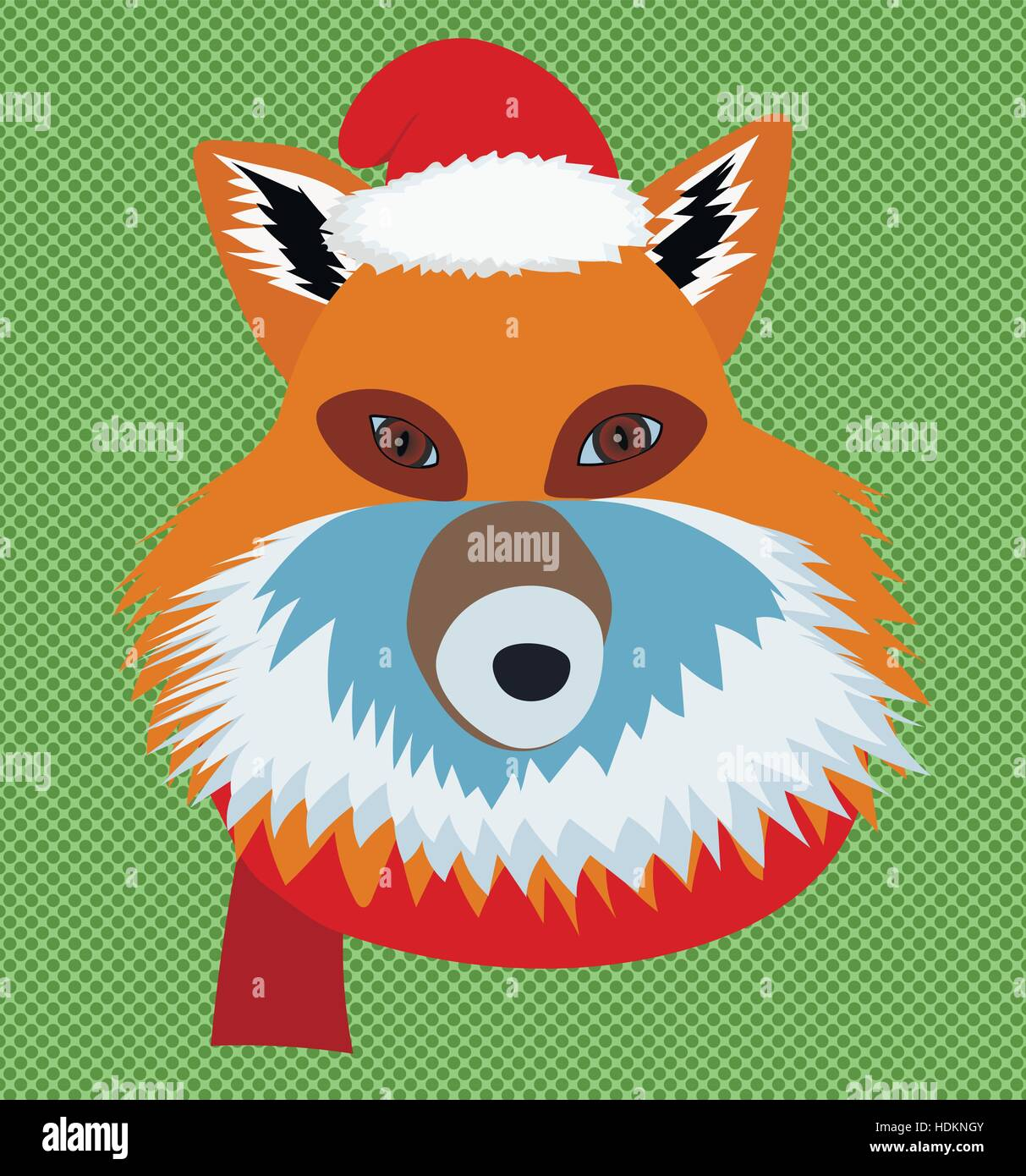 Christmas fox wearing santa hat and scarf portrait Stock Vector