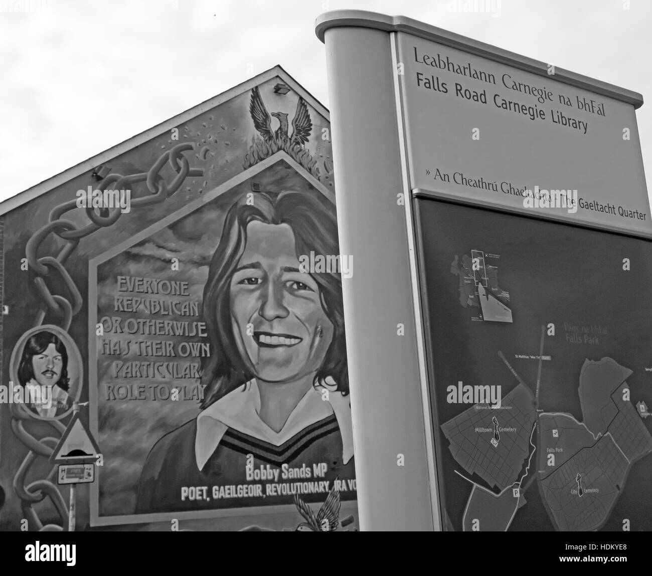 Belfast Falls Rd Rebublican Bobby Sands Mural and Carnegie Library BW Monochrome - Stock Image