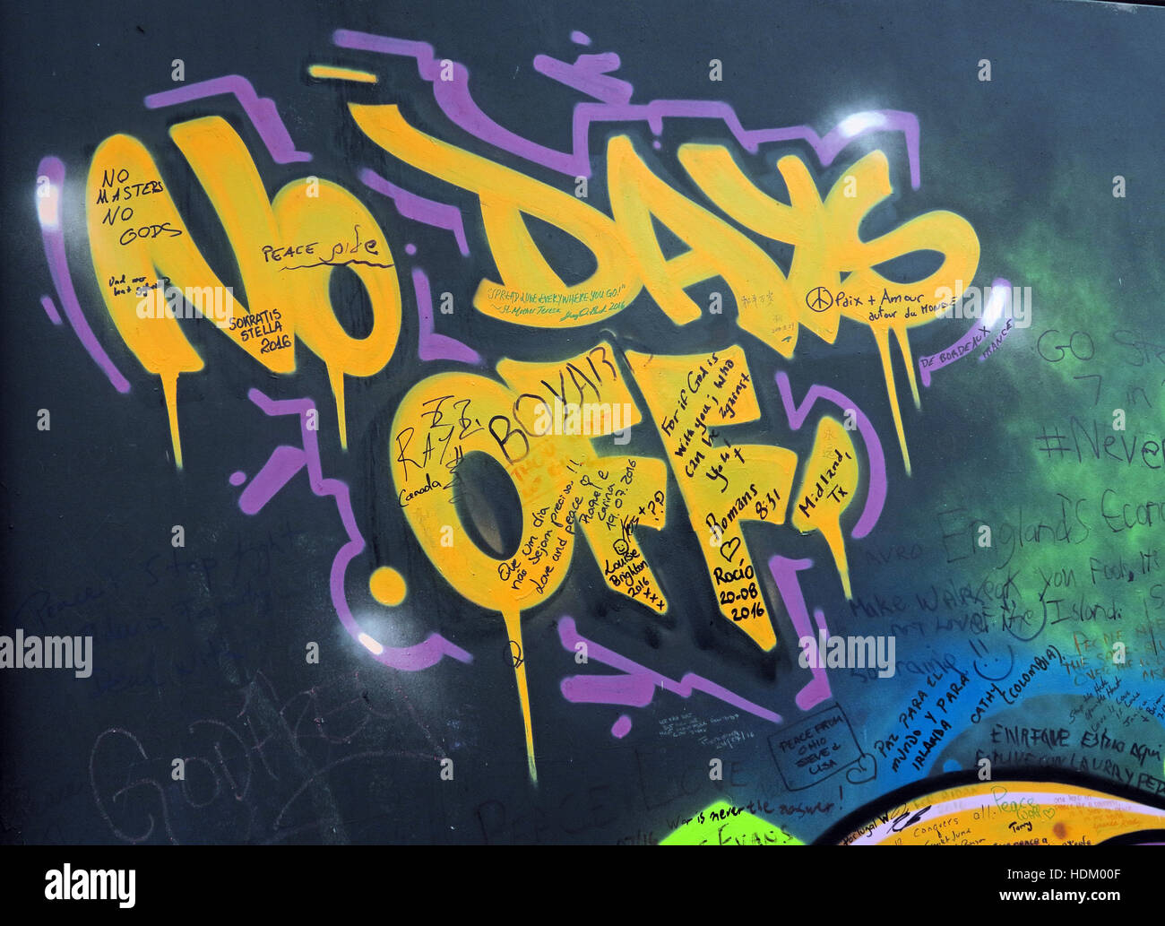 No Days Off - Belfast International Peace Wall Grafitti,Cupar way,West Belfast,NI,UK - Stock Image