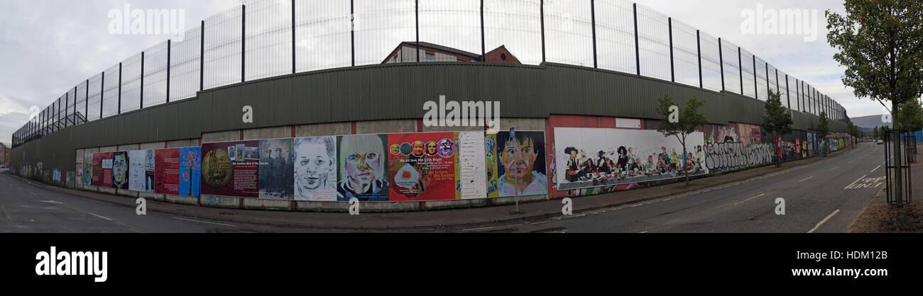Panorama of Belfast International Peace Wall,Cupar way,West Belfast,NI,UK - Stock Image