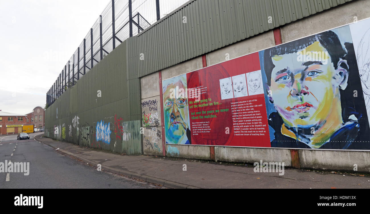 The Power of Integrating Education - Belfast International Peace Wall,Cupar way,West Belfast,NI,UK Stock Photo
