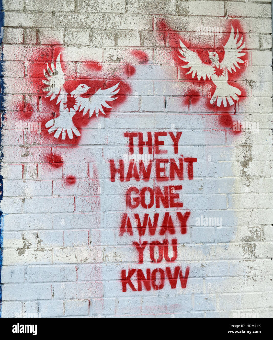 Doves - they Haven't Gone Away You Know - Belfast International Peace Wall,Cupar way,West Belfast,NI,UK (Gerry - Stock Image