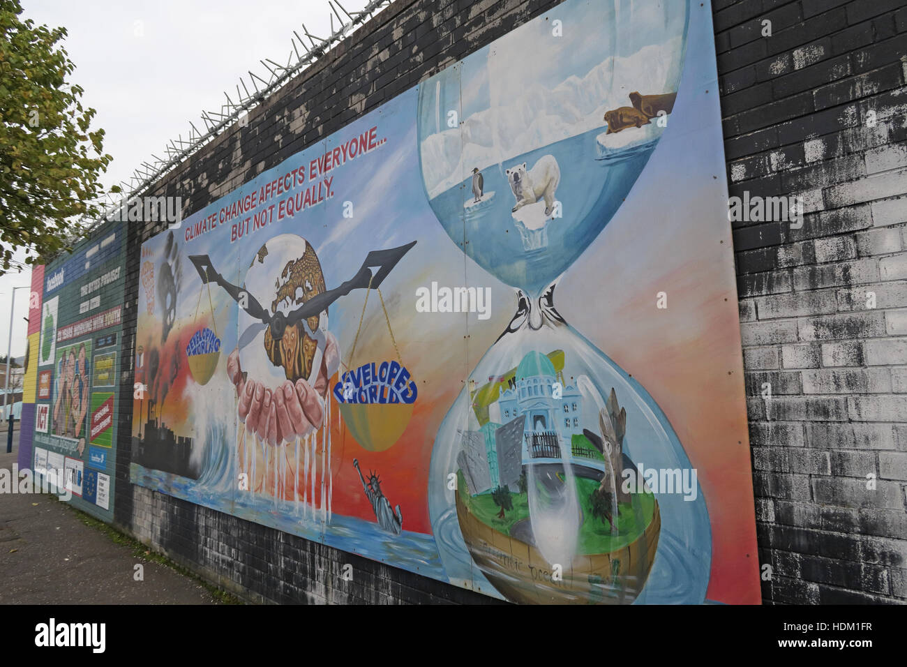 Belfast Falls Rd Peace Wall Mural,Climate Change - Stock Image