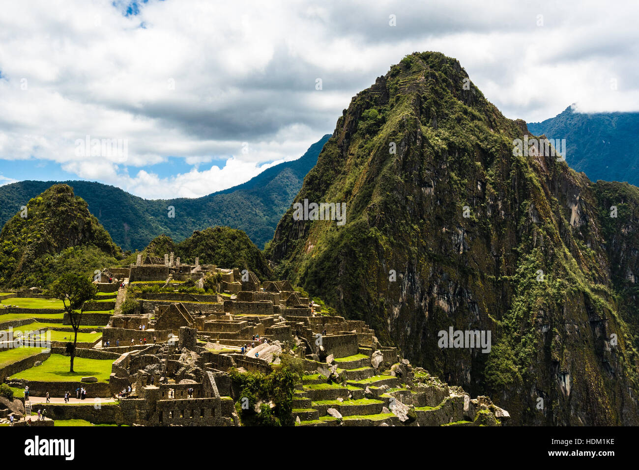 View of the Lost Incan City of Machu Picchu near Cusco, Peru. Machu Picchu is a Peruvian Historical Sanctuary. - Stock Image