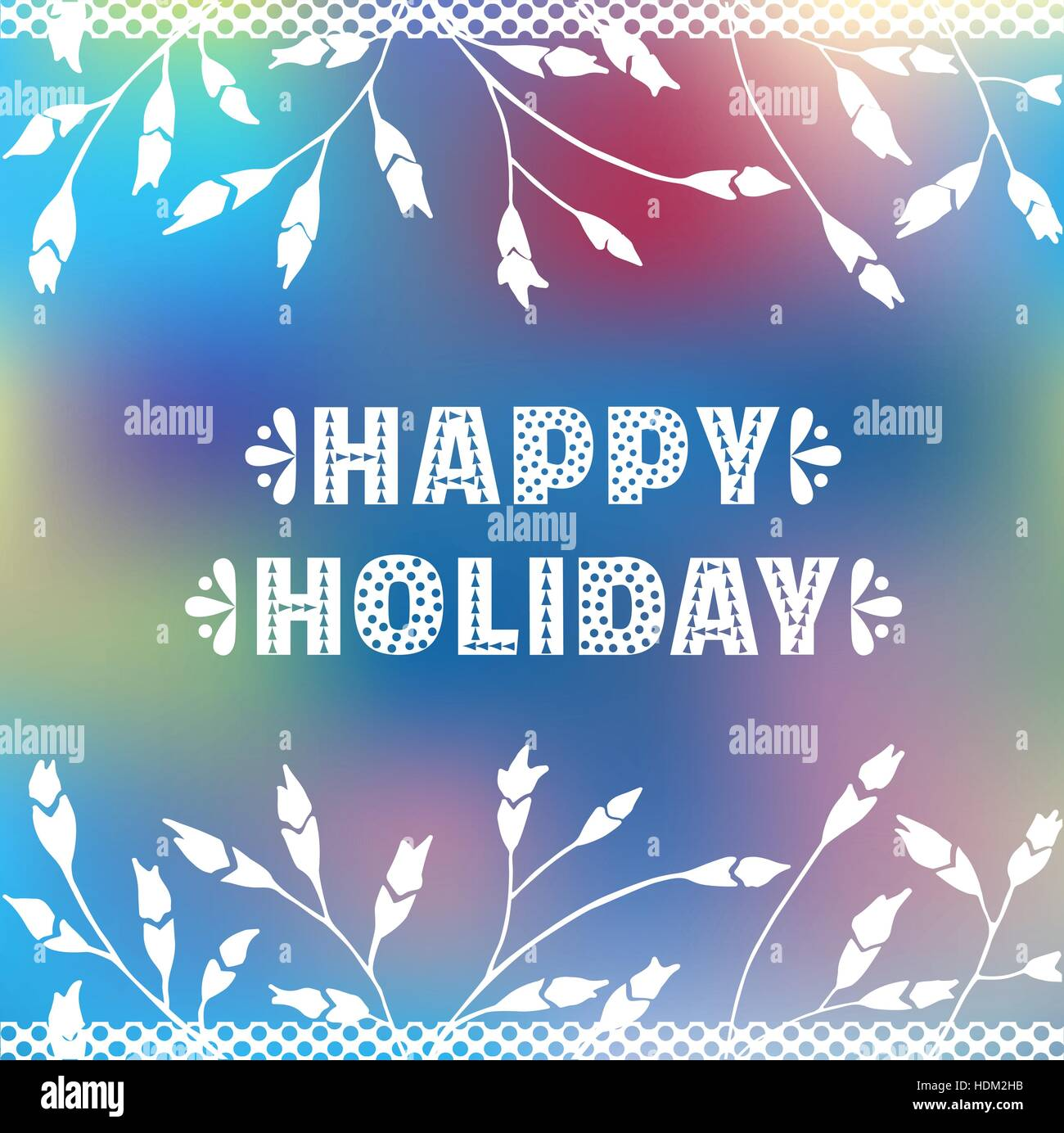 Happy Holiday Cute Fancy White Letters Ornate Border Background