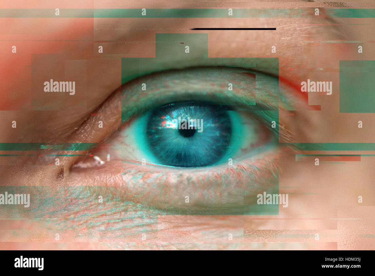 Blue female eye with digital glitch effect, modern electronics and visual technology concept - Stock Image