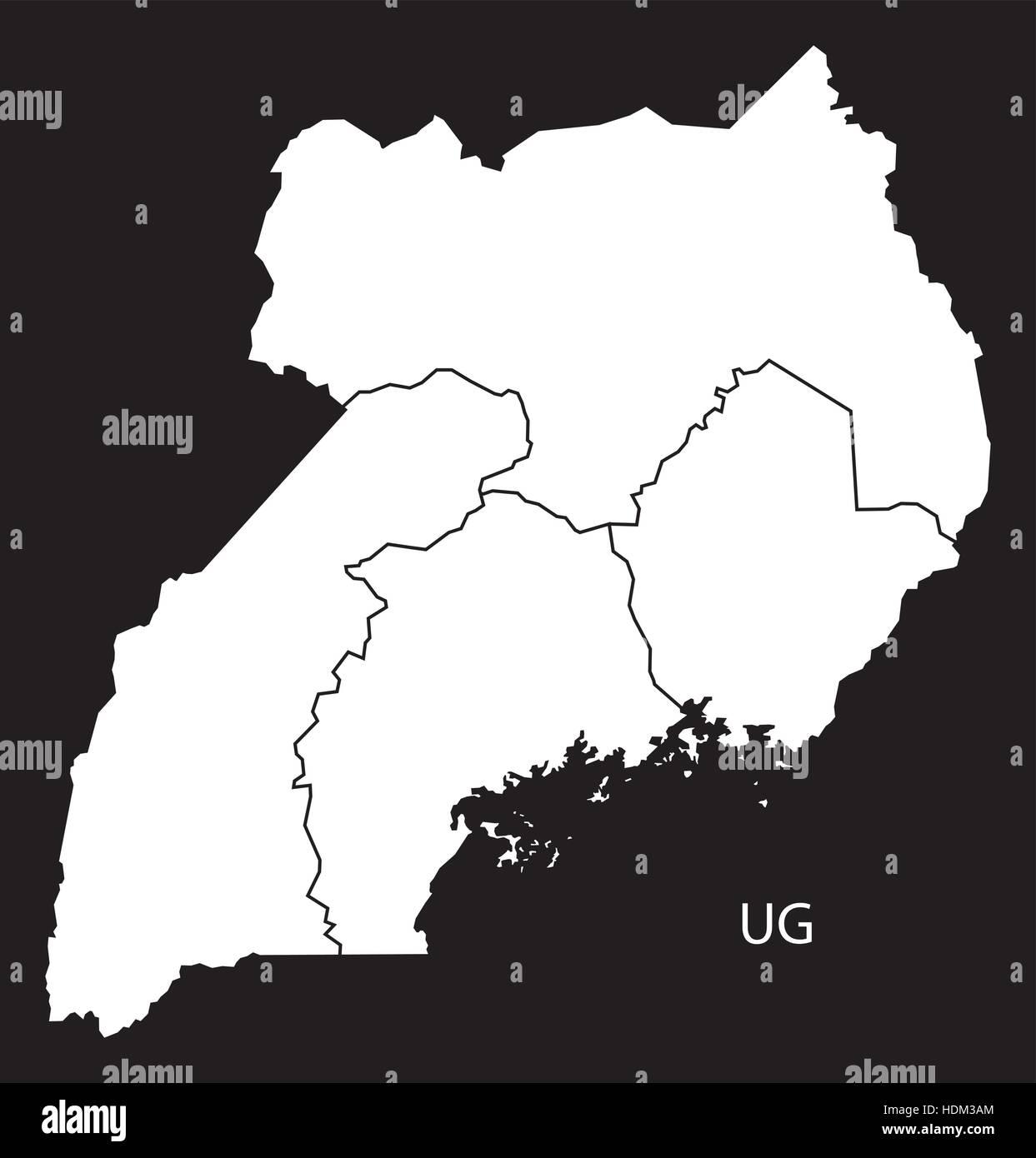 Uganda regions Map black and white illustration Stock Vector Art