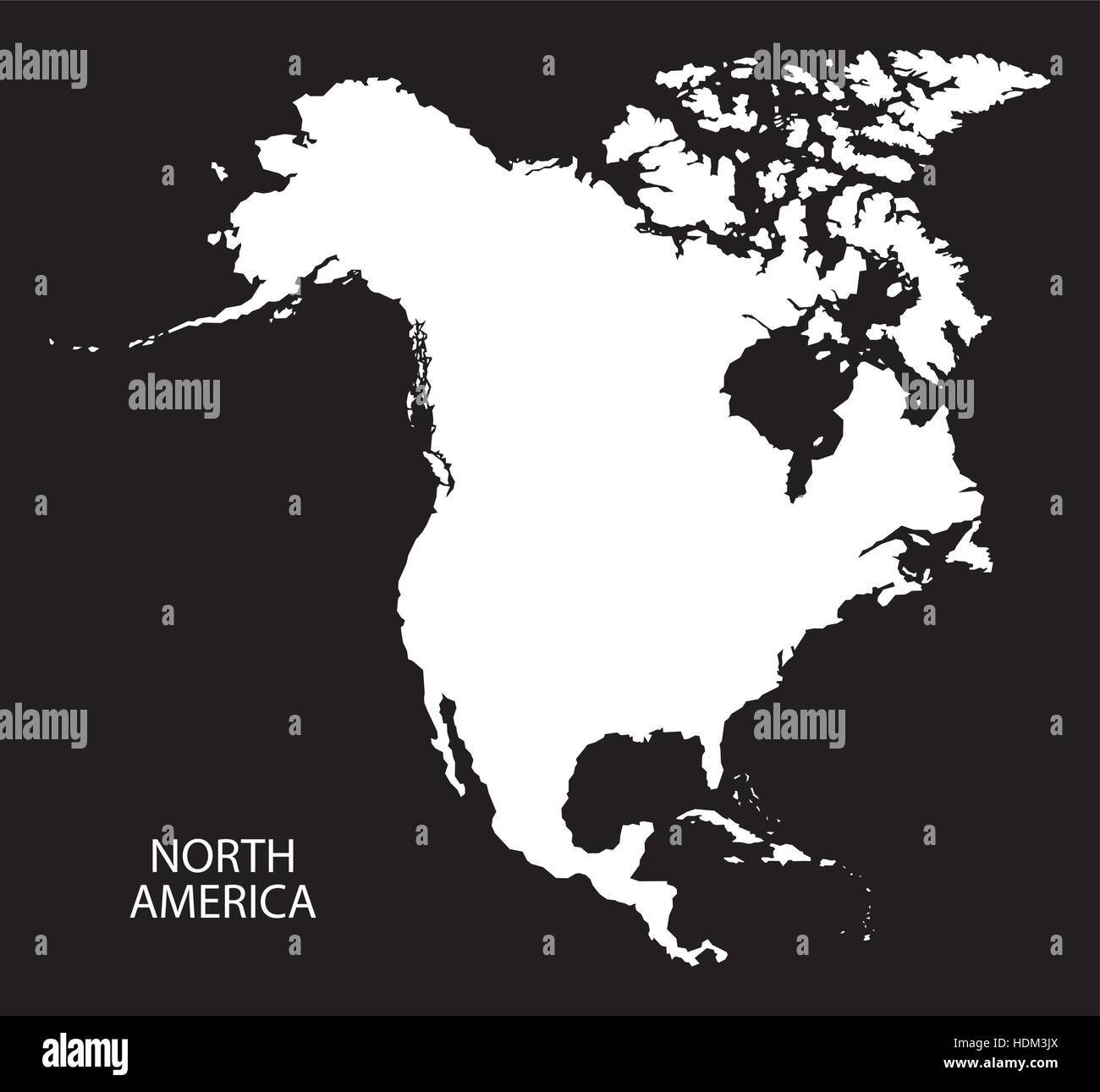 North America Map black and white illustration Stock Vector Art
