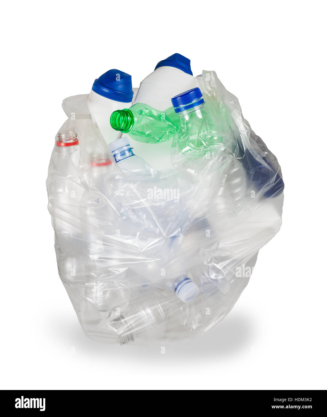 garbage bag with empty plastic bottles isolated on white background - Stock Image