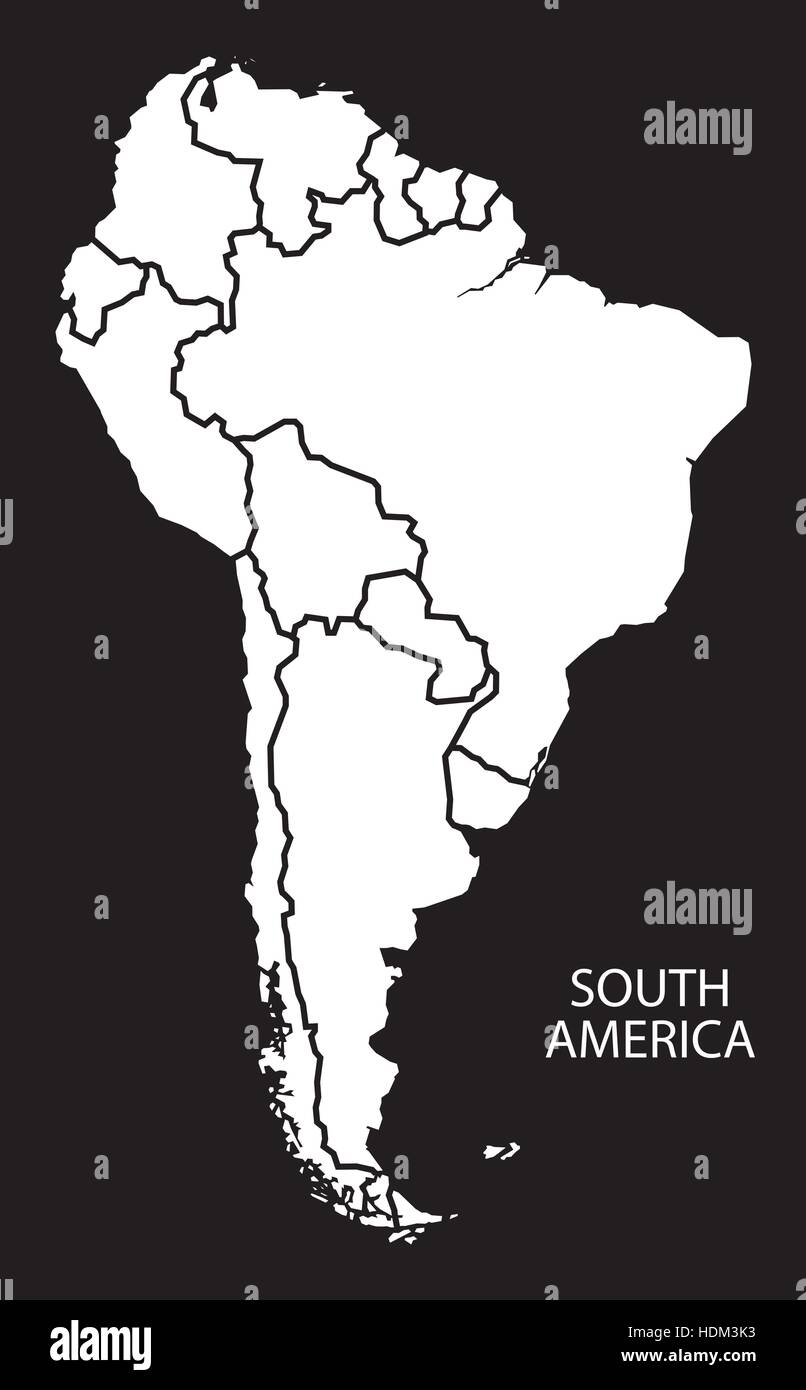 South America with countries Map black and white illustration Stock ...