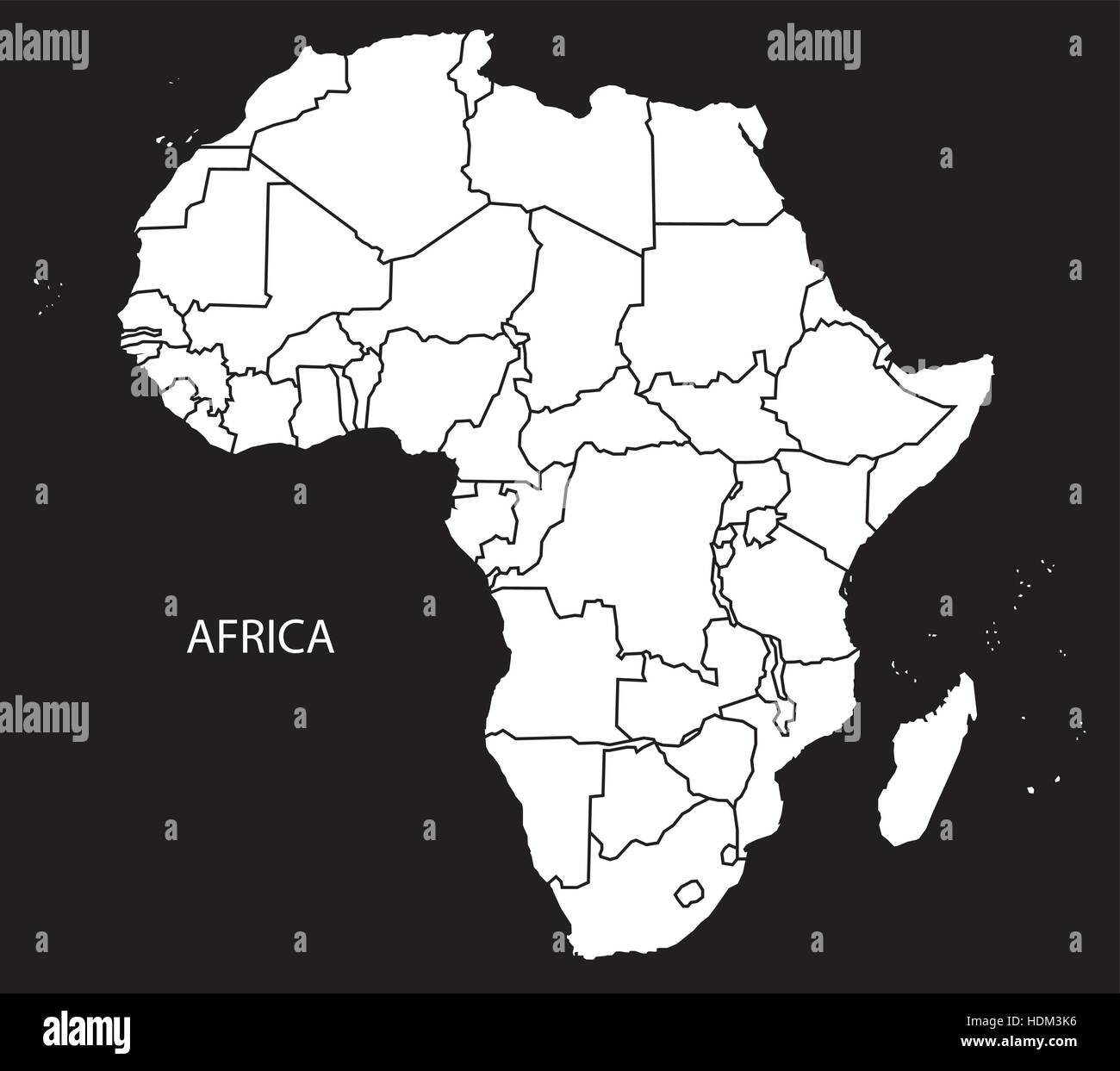 Africa Map With Countries Black And White Illustration