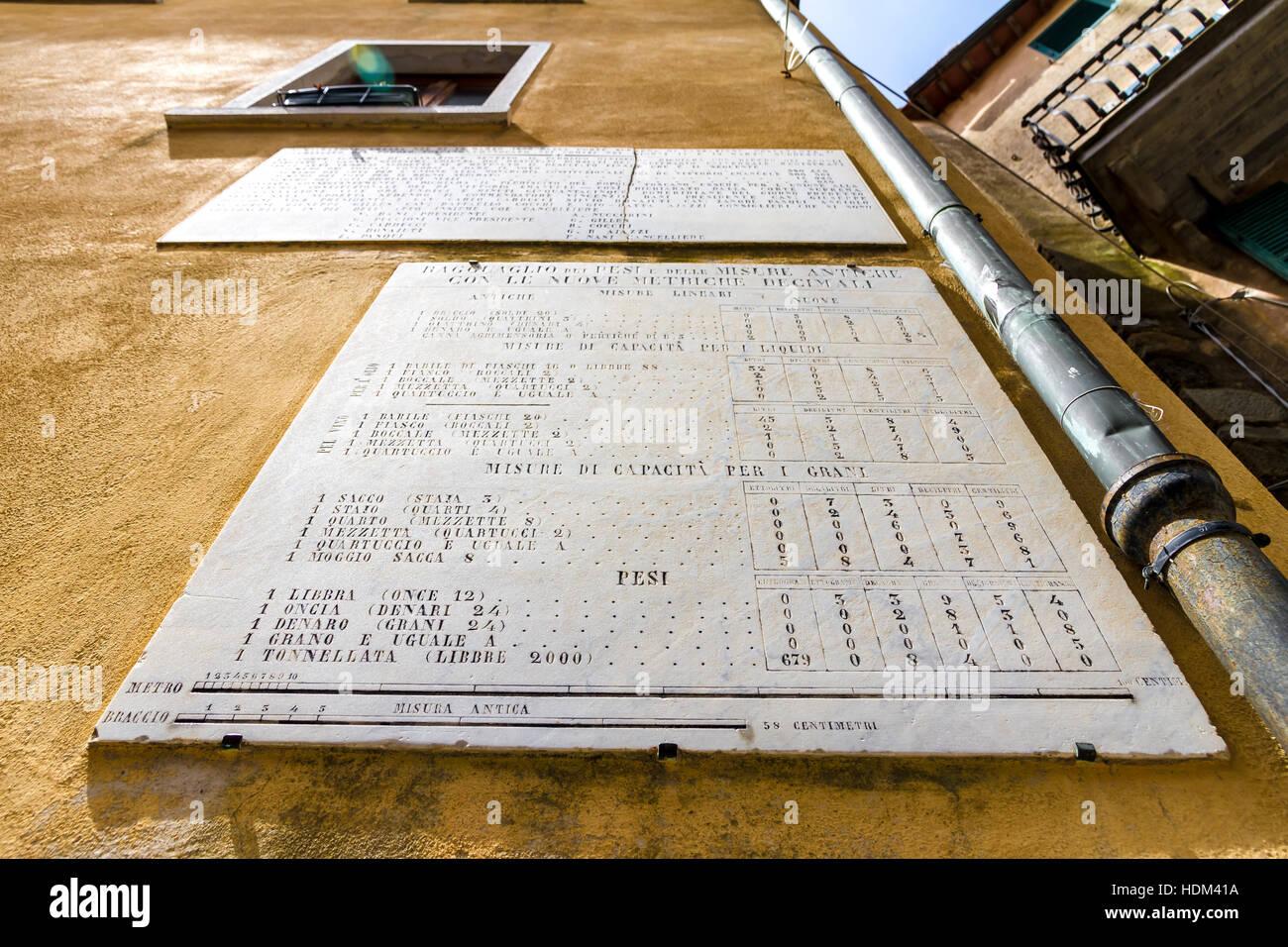 Campiglia Marittima, Italy - June 23, 2014: Ancient (19th Century) conversion metricu system plaque - Stock Image