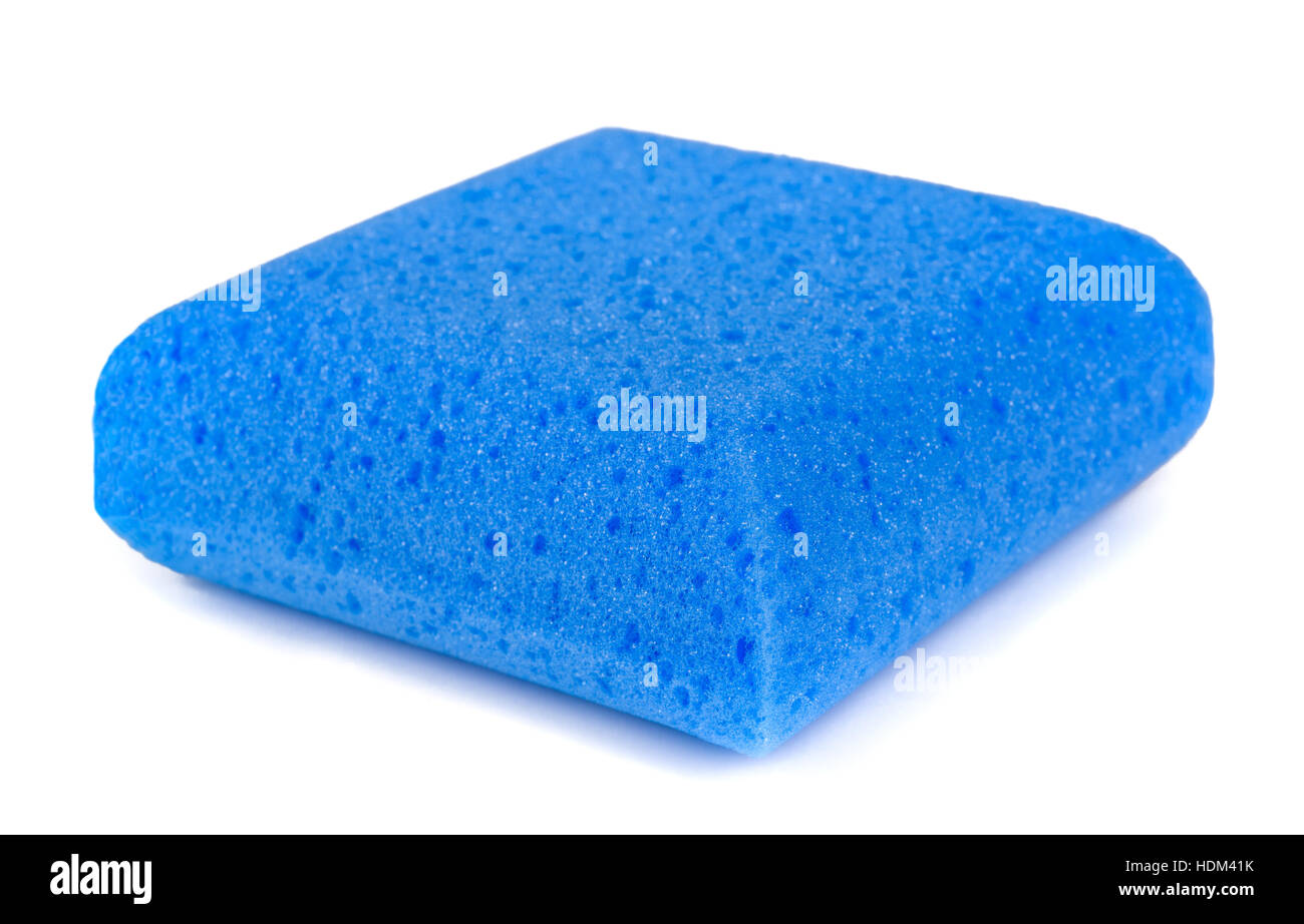 Blue sponge isolated on white background - Stock Image