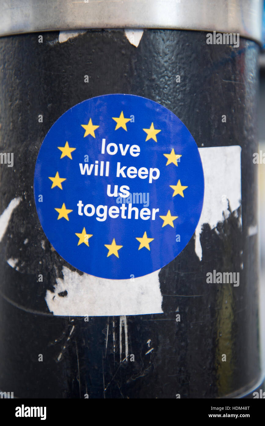 A pro-European Union (EU) message witnessed on a sticker attached to a lampost in Manchester, United Kingdom, Friday Stock Photo
