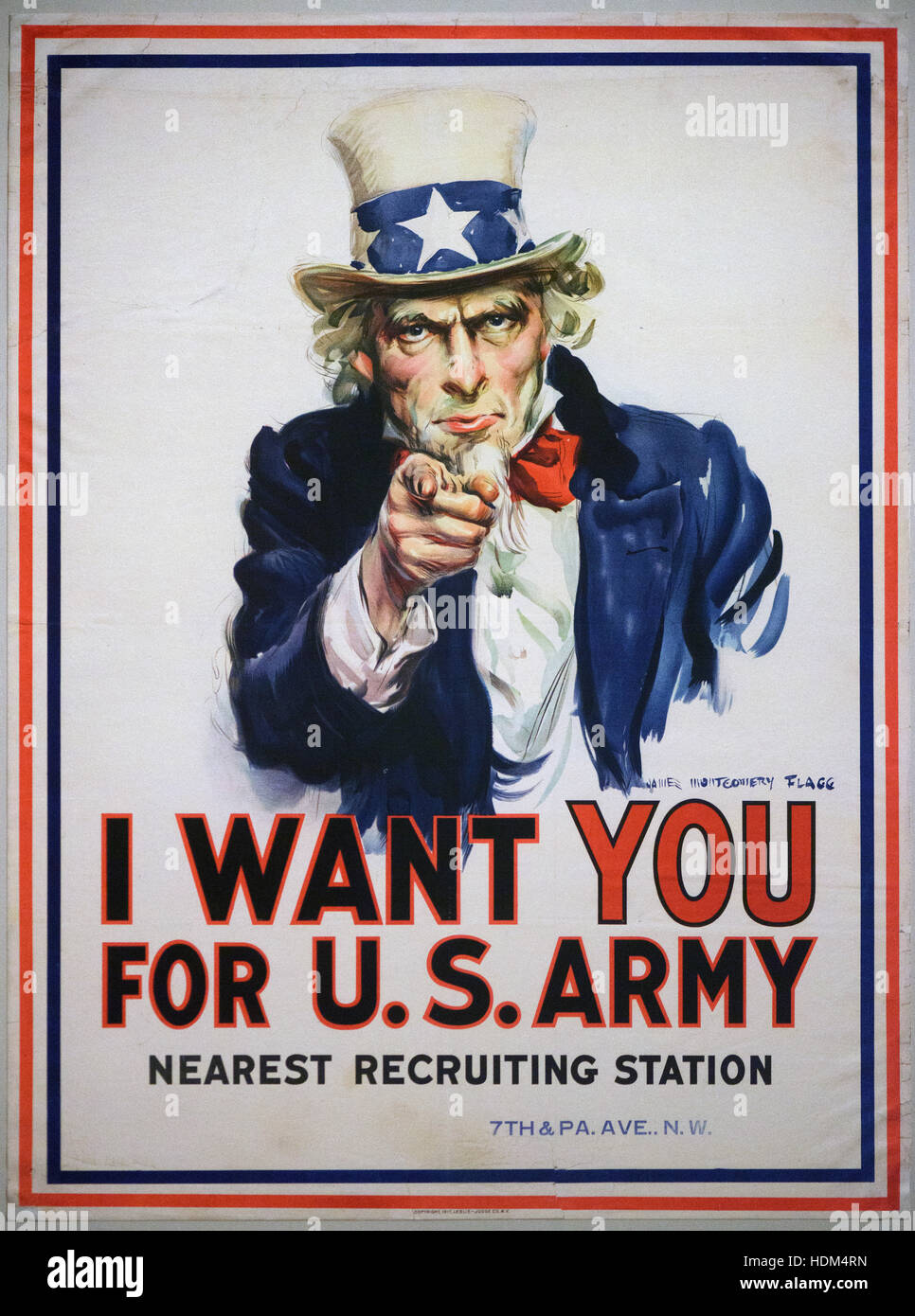 James Montgomery Flagg (1877–1960), I want you for U.S. Army, 1917. Ich will dich fur die US-Armee. First World - Stock Image