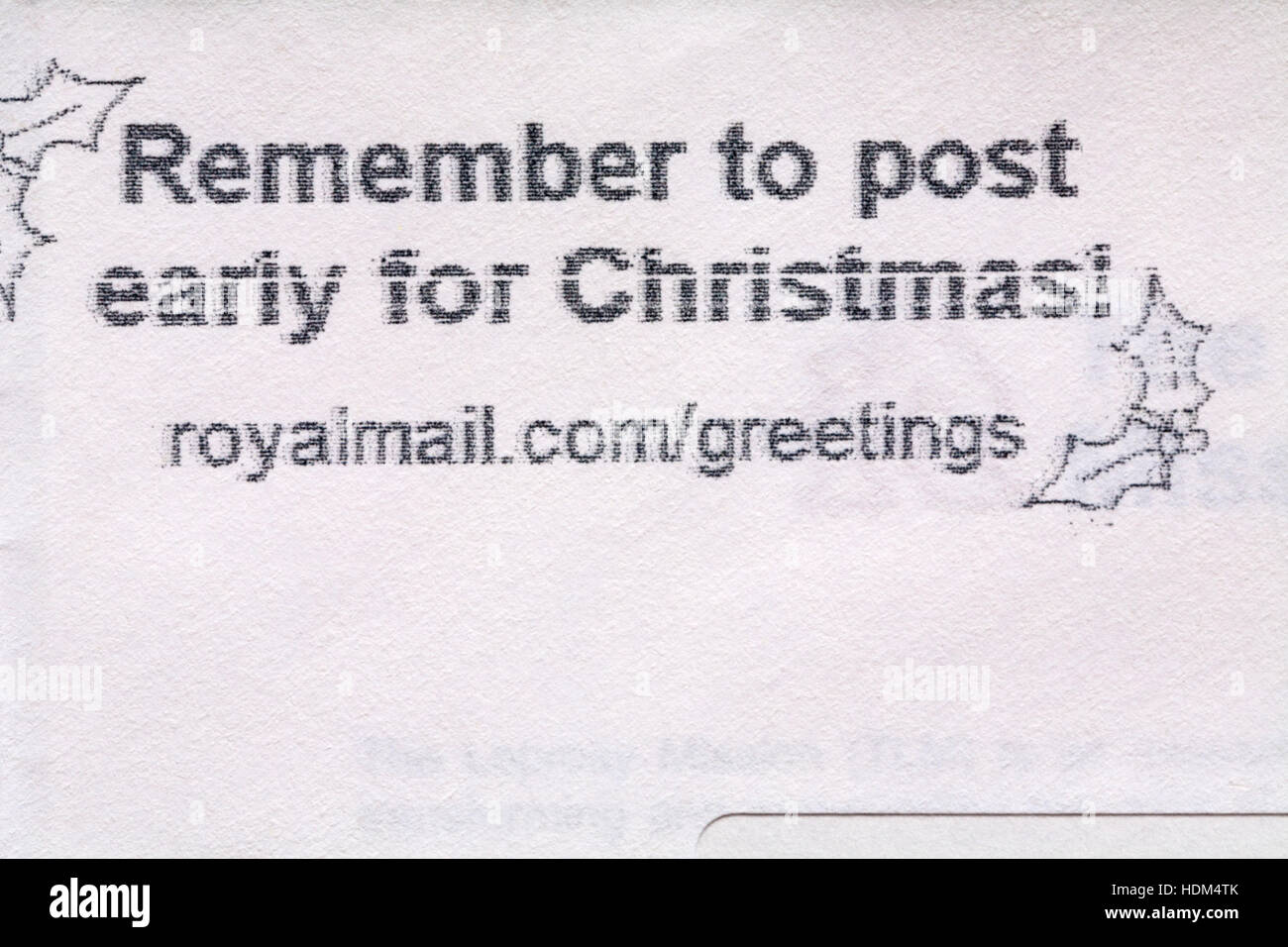 Greetings by mail stock photos greetings by mail stock images alamy remember to post early for christmas information on envelope with greetings from royal mail m4hsunfo
