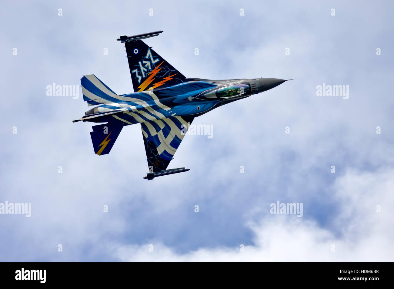 Demo Team Zeus Lockheed Martin F-16C Fighting Falcon of 340/343 Mira, Hellenic Air Force, Souda, at RIAT 2016, RAF - Stock Image