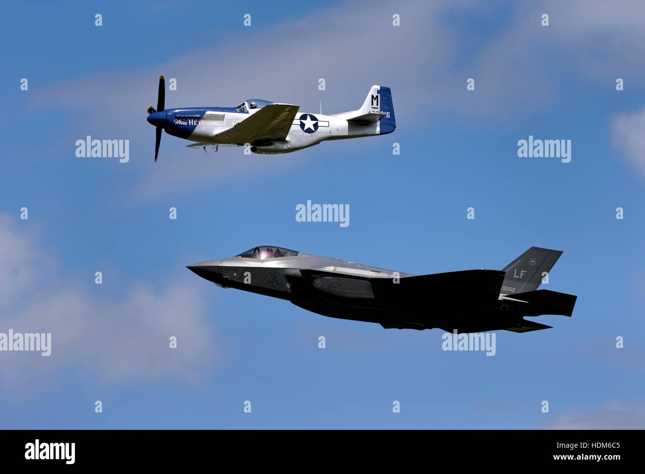 The United States Air Force Heritage Flight North American P-51D Mustang 'Miss Helen' & Lockheed Martin - Stock Image