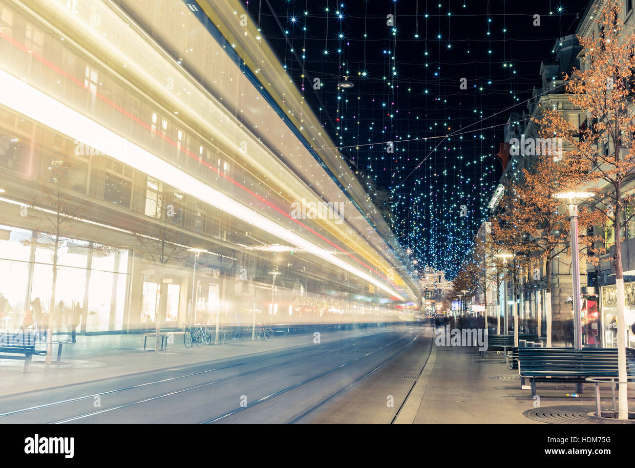 Christmas shopping in the decorated Zurich Bahnhofstrasse - 8 - Stock Image