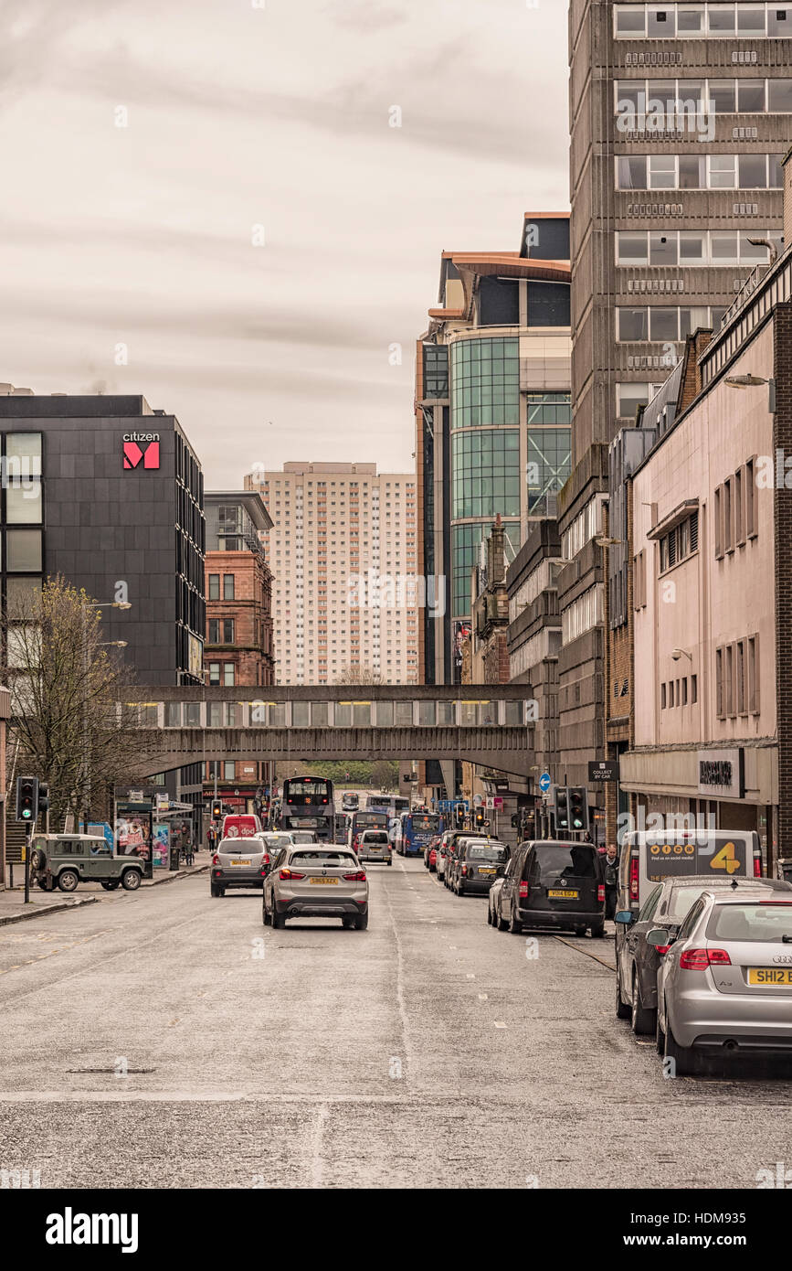 Glasgow street scene in Glasgow Scotland. Glasgow is the largest city in Scotland and third most populous in the - Stock Image