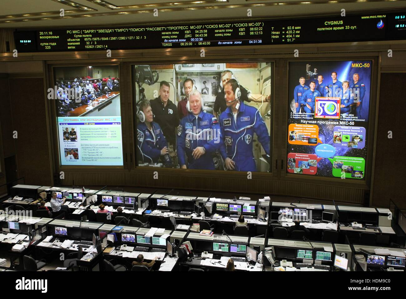 Technicians at the Russian Mission Control Center watch the front screens as NASA Expedition 50 prime crew members - Stock Image