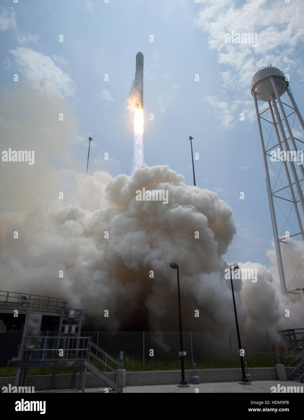 The Orbital Sciences Corporation Antares rocket with Cygnus spacecraft onboard launches from Launch Pad-0A at the - Stock Image