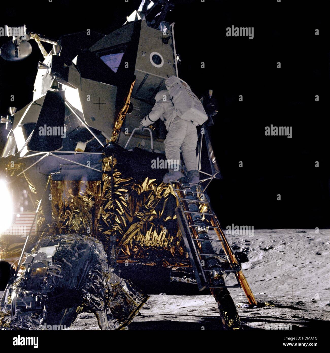 NASA Apollo 12 lunar landing mission astronaut Alan Bean climbs down the ladder of the Lunar Module Intrepid for - Stock Image