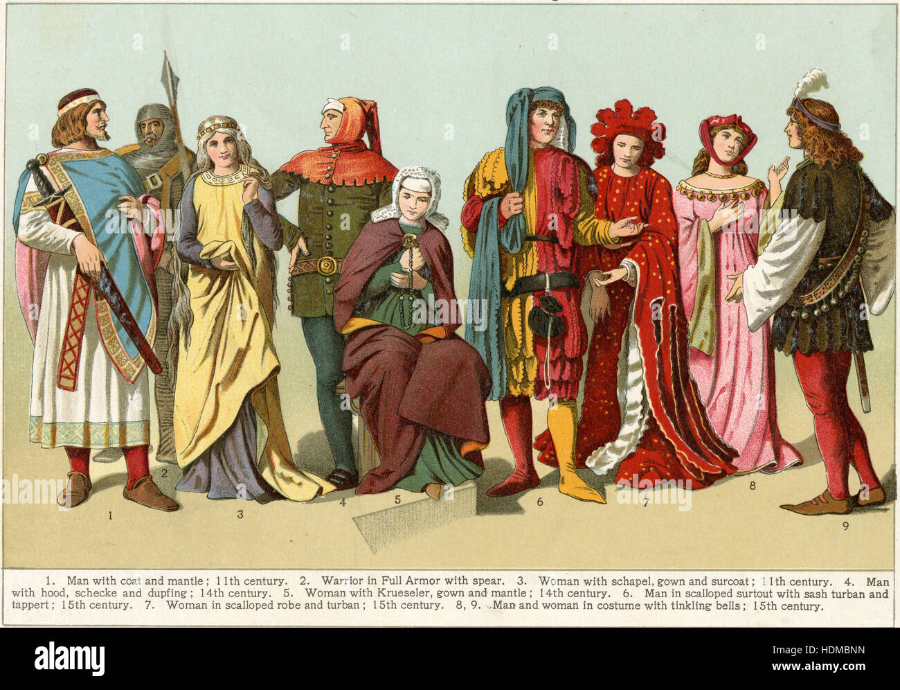 Antique 1897 chromolithgraph showing Costumes from the Middle Ages — Man with coat and mantle (11th century); Warrior - Stock Image