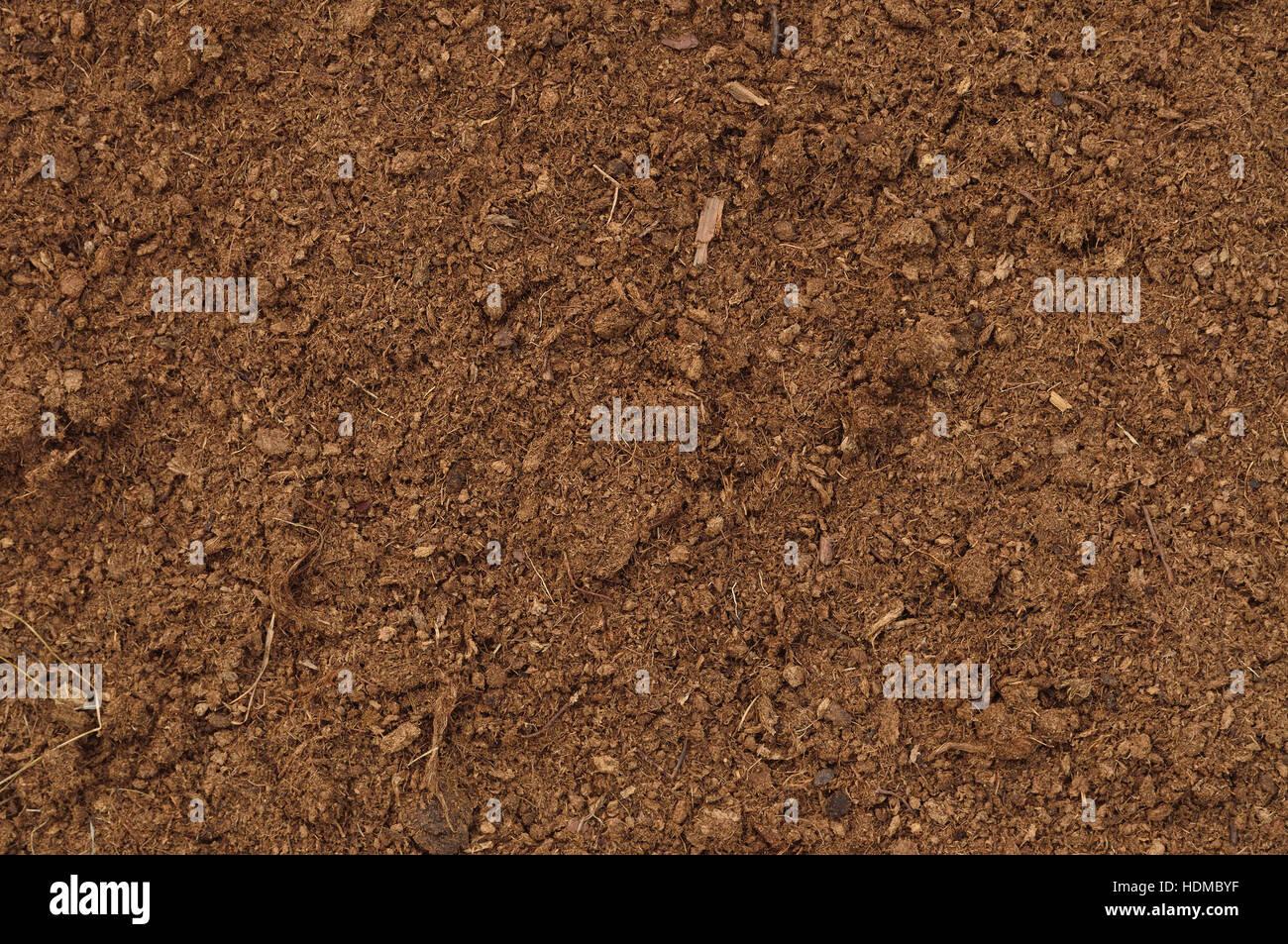 Peat Turf Macro Closeup, large detailed brown organic humus soil background pattern, horizontal - Stock Image