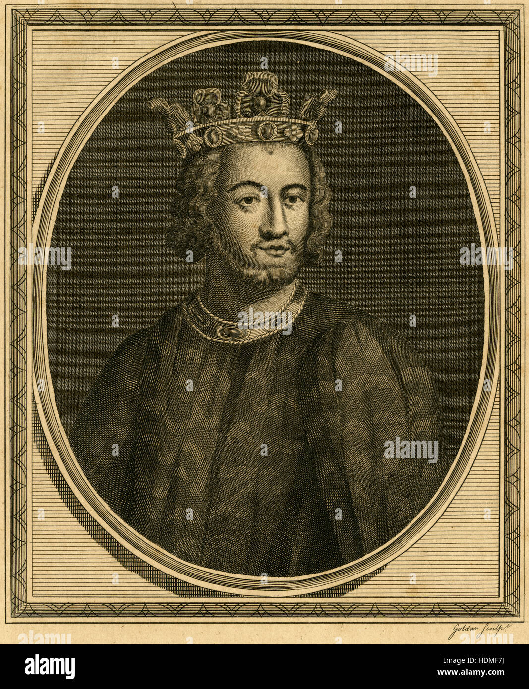 Antique 1787 engraving, depicting John, King of England. John (1166-1216), also known as John Lackland, was King - Stock Image