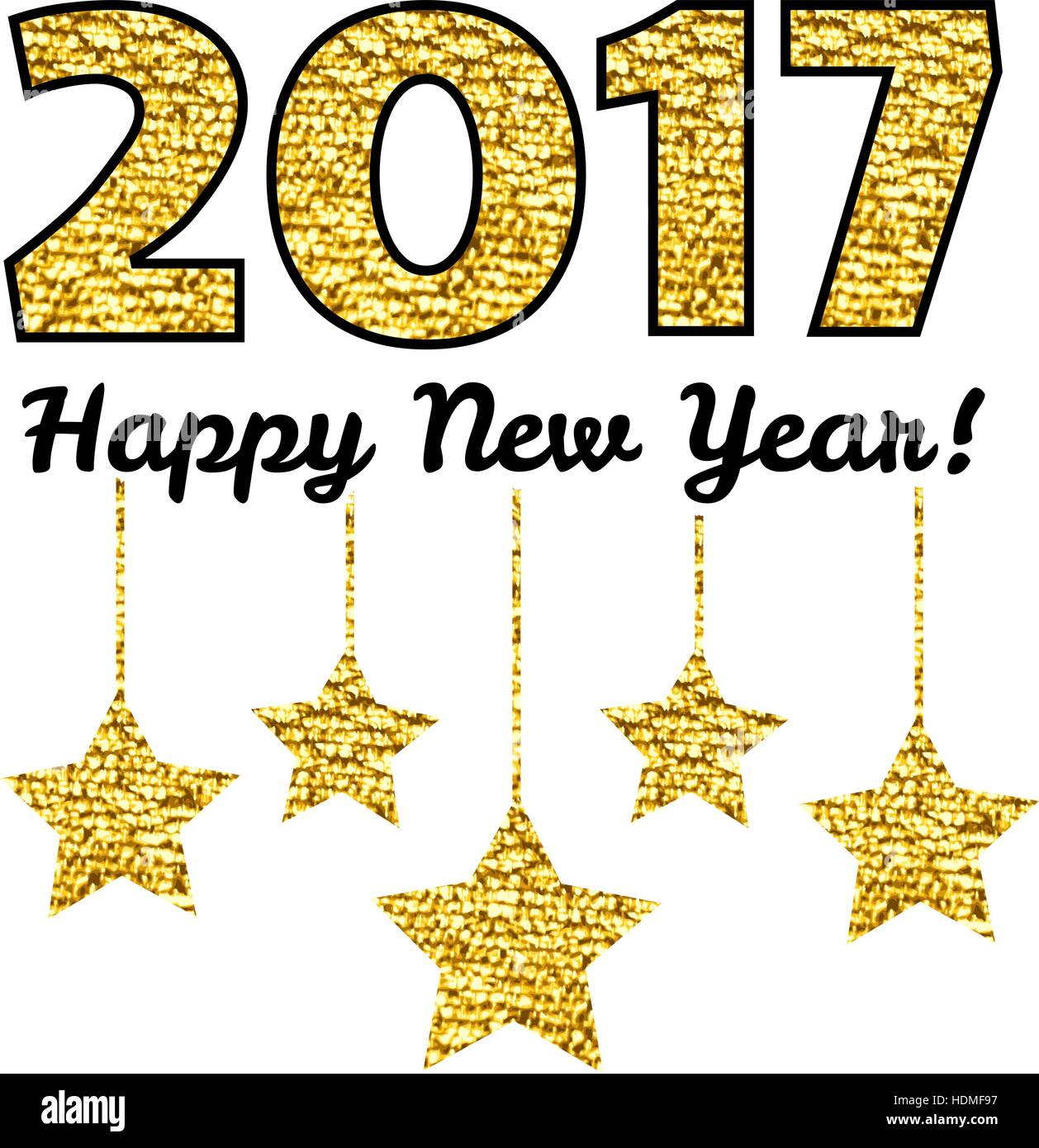 happy new year 2017 card with gold star isolated on white background