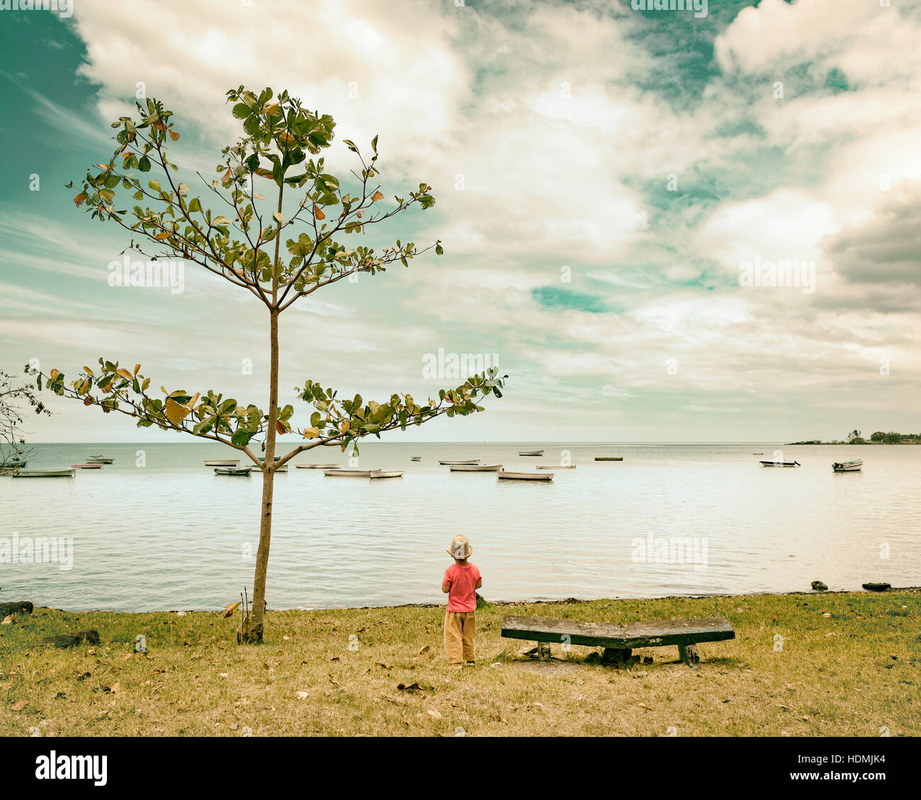Rear view of a boy at seaside. Mauritius - Stock Image