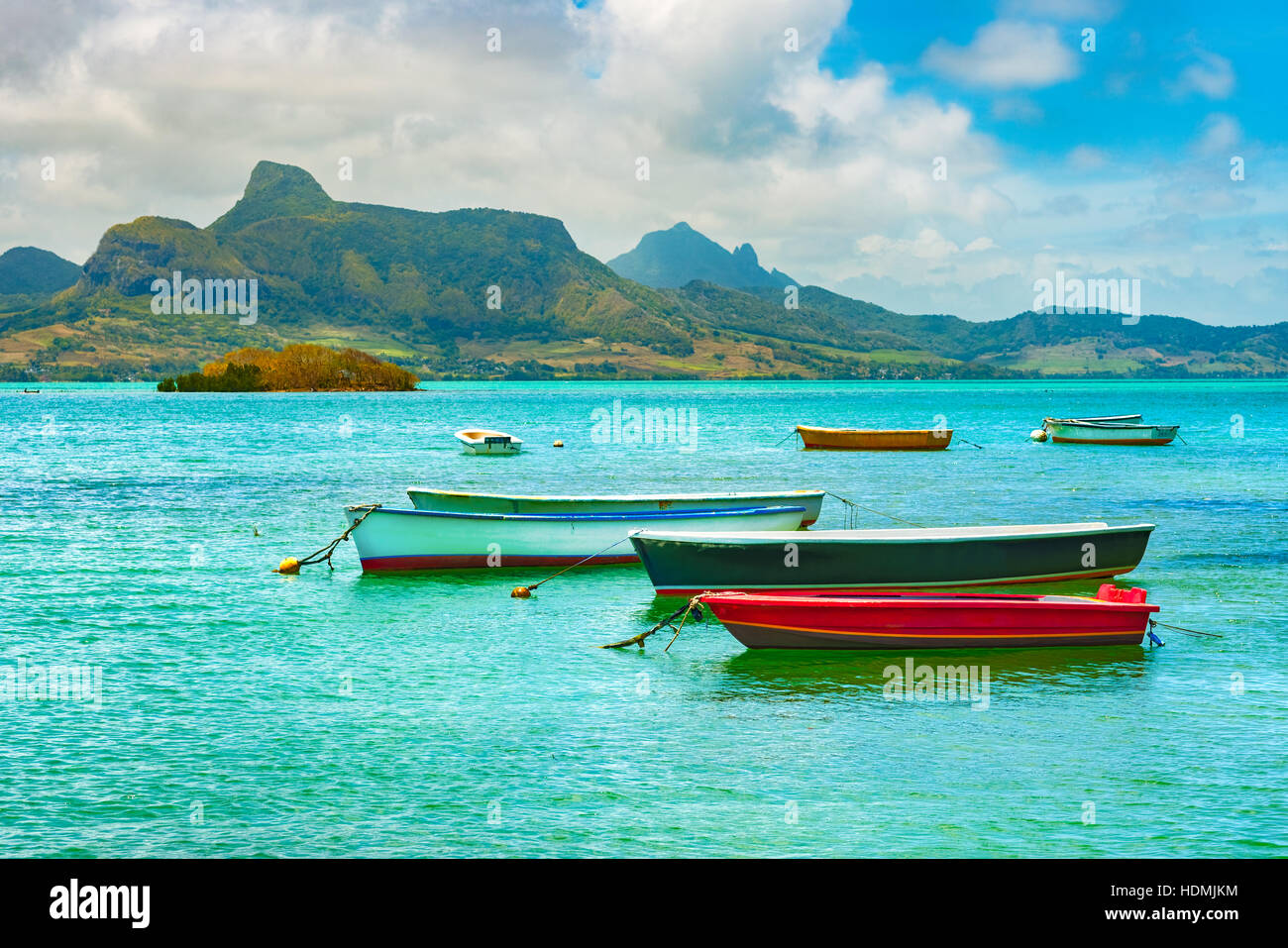 Boats in a sea at day time. Mauritius - Stock Image