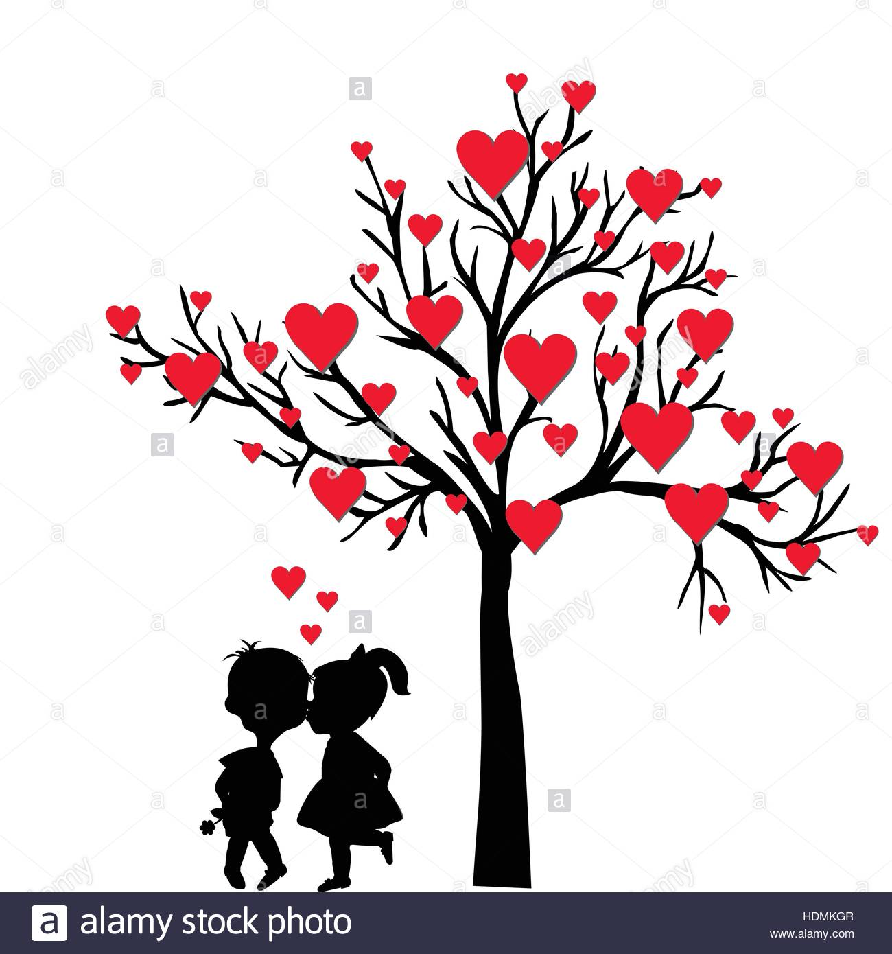 Greeting Valentine S Day Card With Tree Of Hearts And Kids Kissing