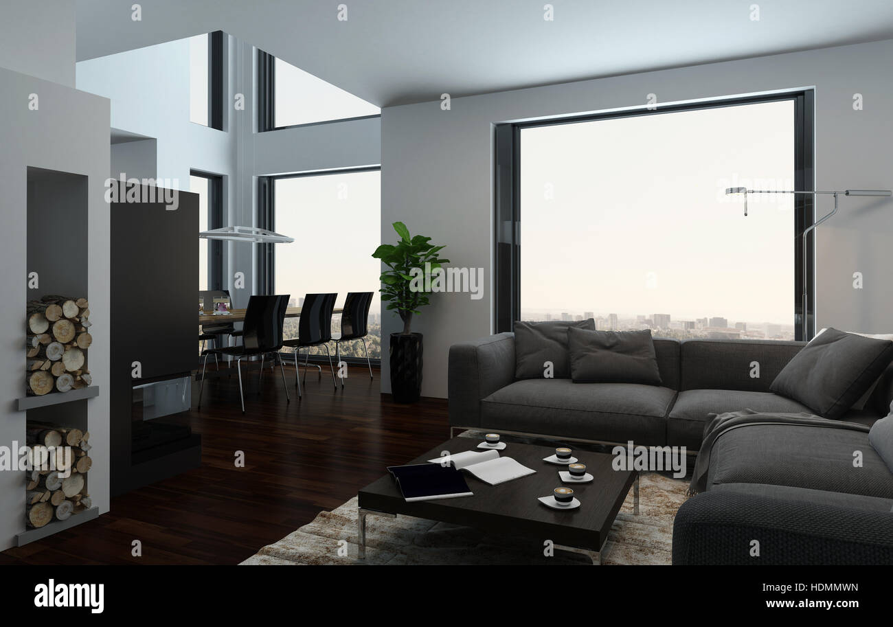 Large Luxury Open Plan Living And Dining Room Interior With Double Volume  Spaces, Large View Windows And Stylish Furniture In A Condominium Or Penthou